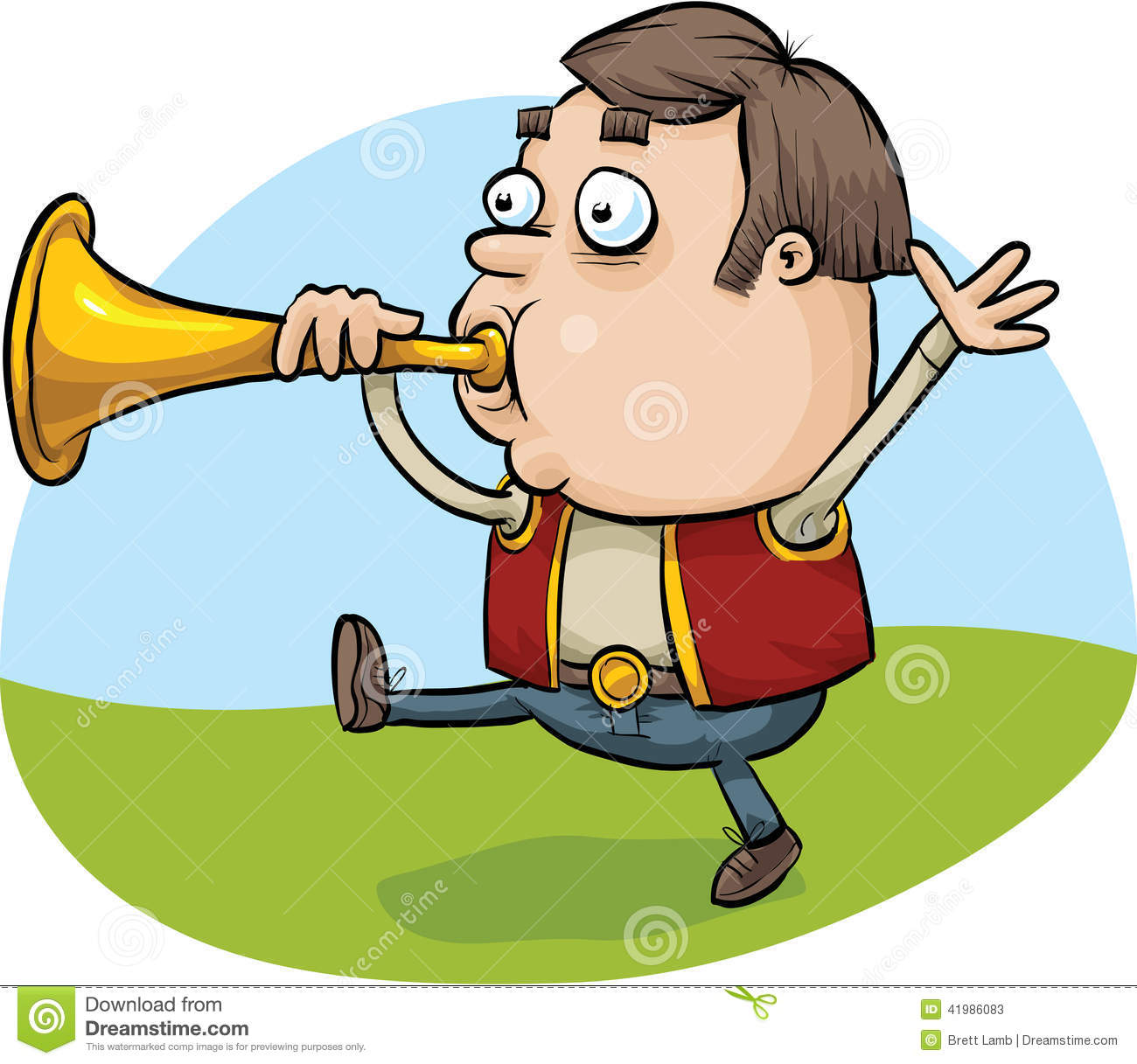 Clipart Man Blowing Horn