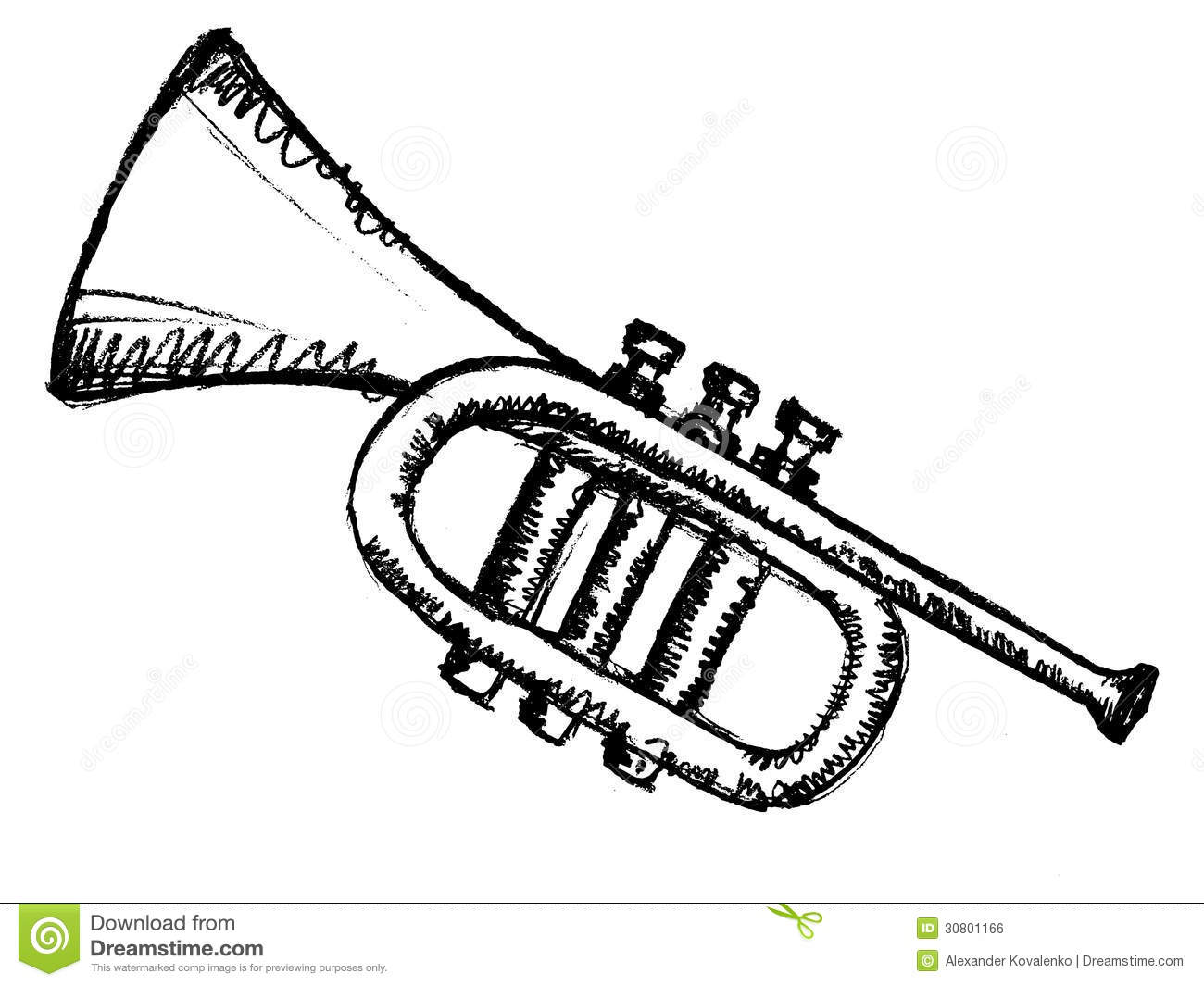 Horn musical instrument stock vector illustration of for Sketch online free