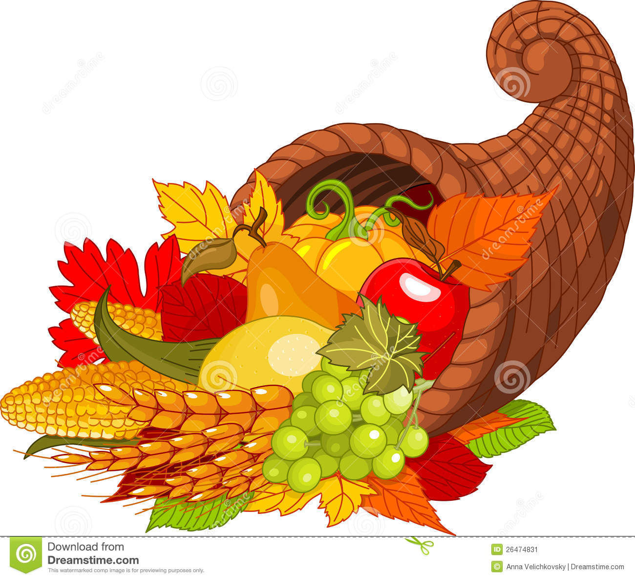 Illustration of a Thanksgiving cornucopia full of harvest fruits and ...