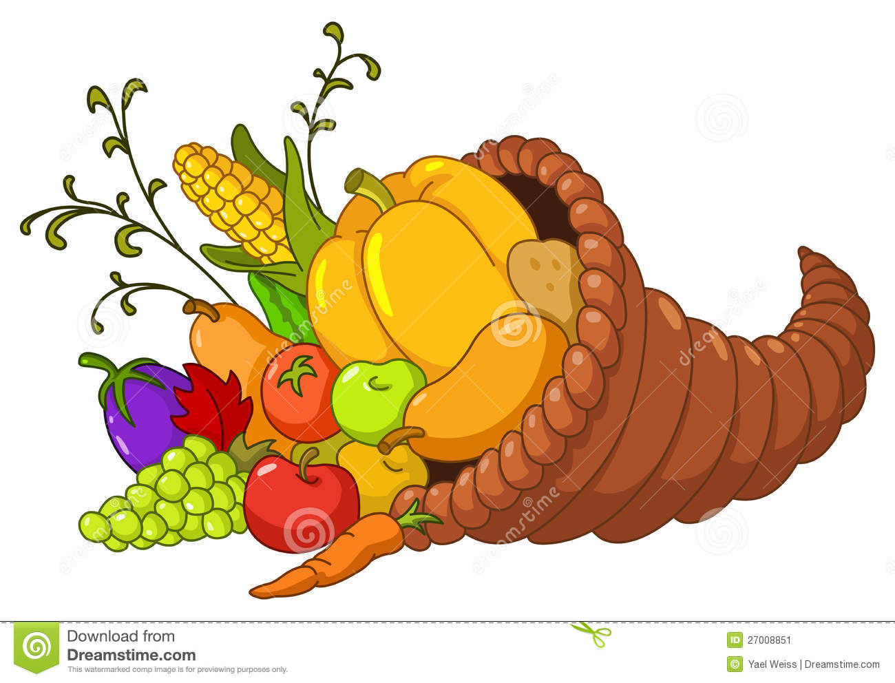 Horn of plenty. Cornucopia with autumn fruits and vegetables.