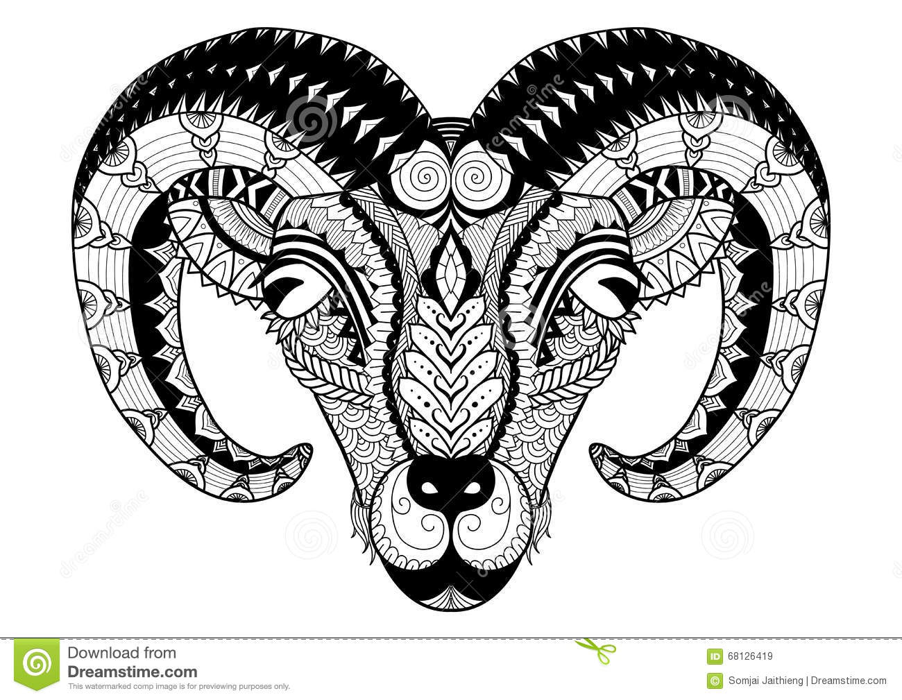 Horn Sheep Line Art Design For Coloring Book, T Shirt Design, Bag ...
