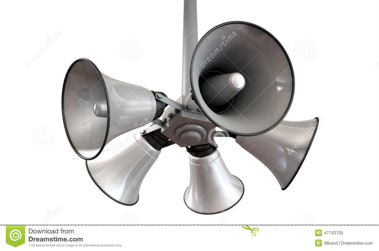 Horn Speakers Hanging View Stock Illustration