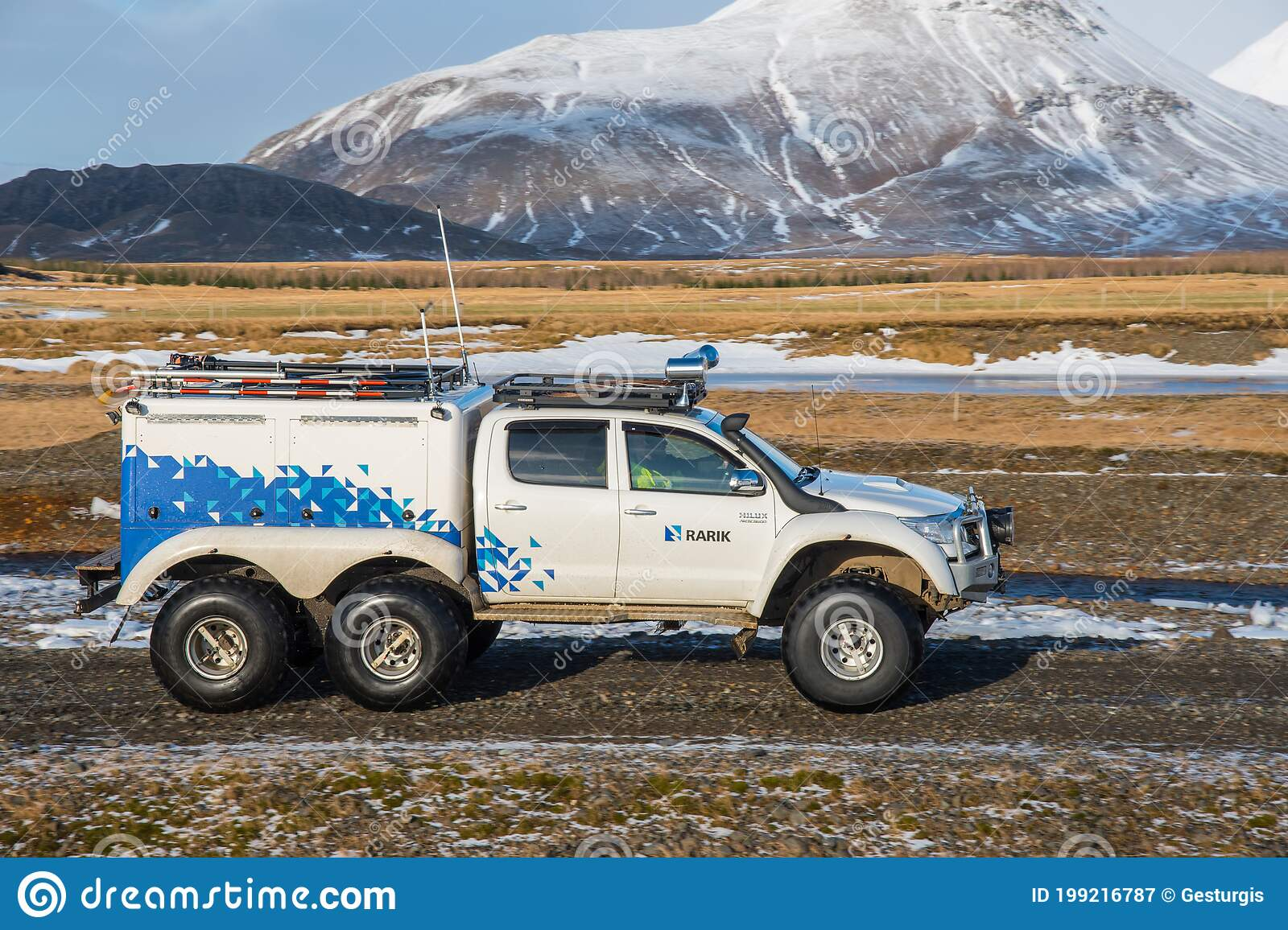 Heavily Modified 6x6 Toyota Hilux Pickup Truck From Icelandic Electricity Distrubutor Company Rarik Editorial Photography Image Of Toyota Tire 199216787