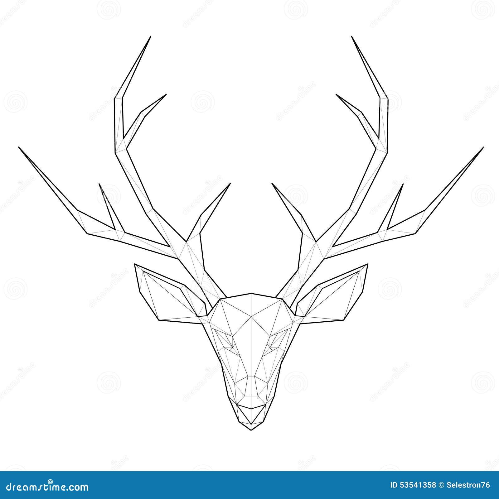 horned deer low polygon illustration stock vector deer antler vector images deer antler vector images