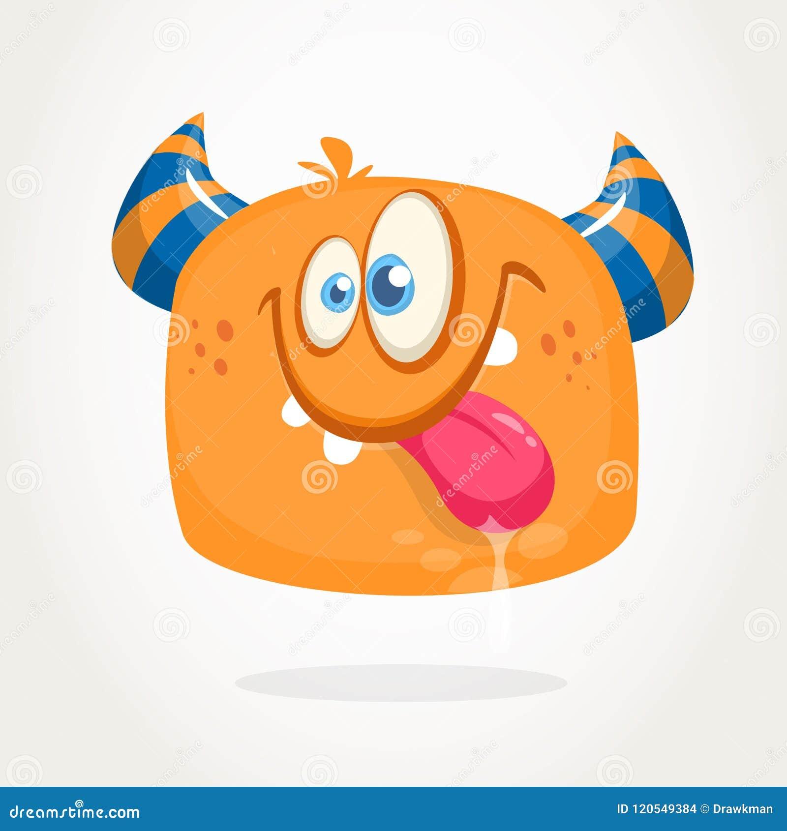 Horned monster för lycklig orange tecknad film Trött gigantisk sinnesrörelse som visar hans tunga Halloween vektorillustration