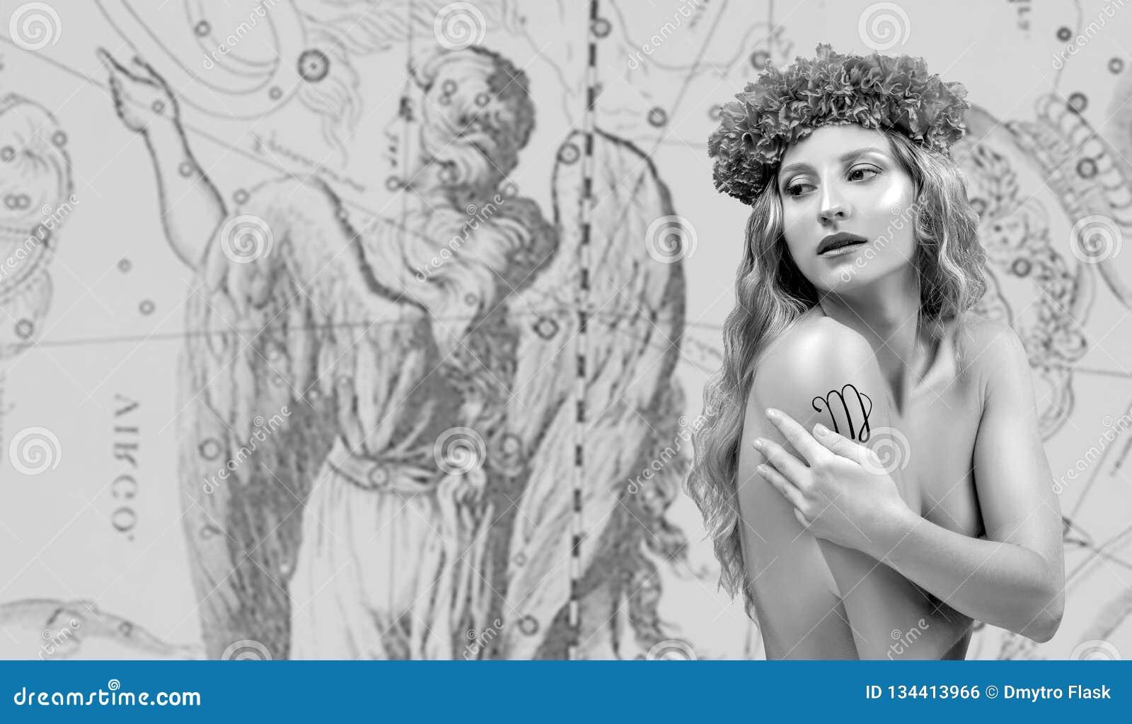 Horoscope Muestra del zodiaco del virgo, virgo hermoso de la mujer en mapa del zodiaco