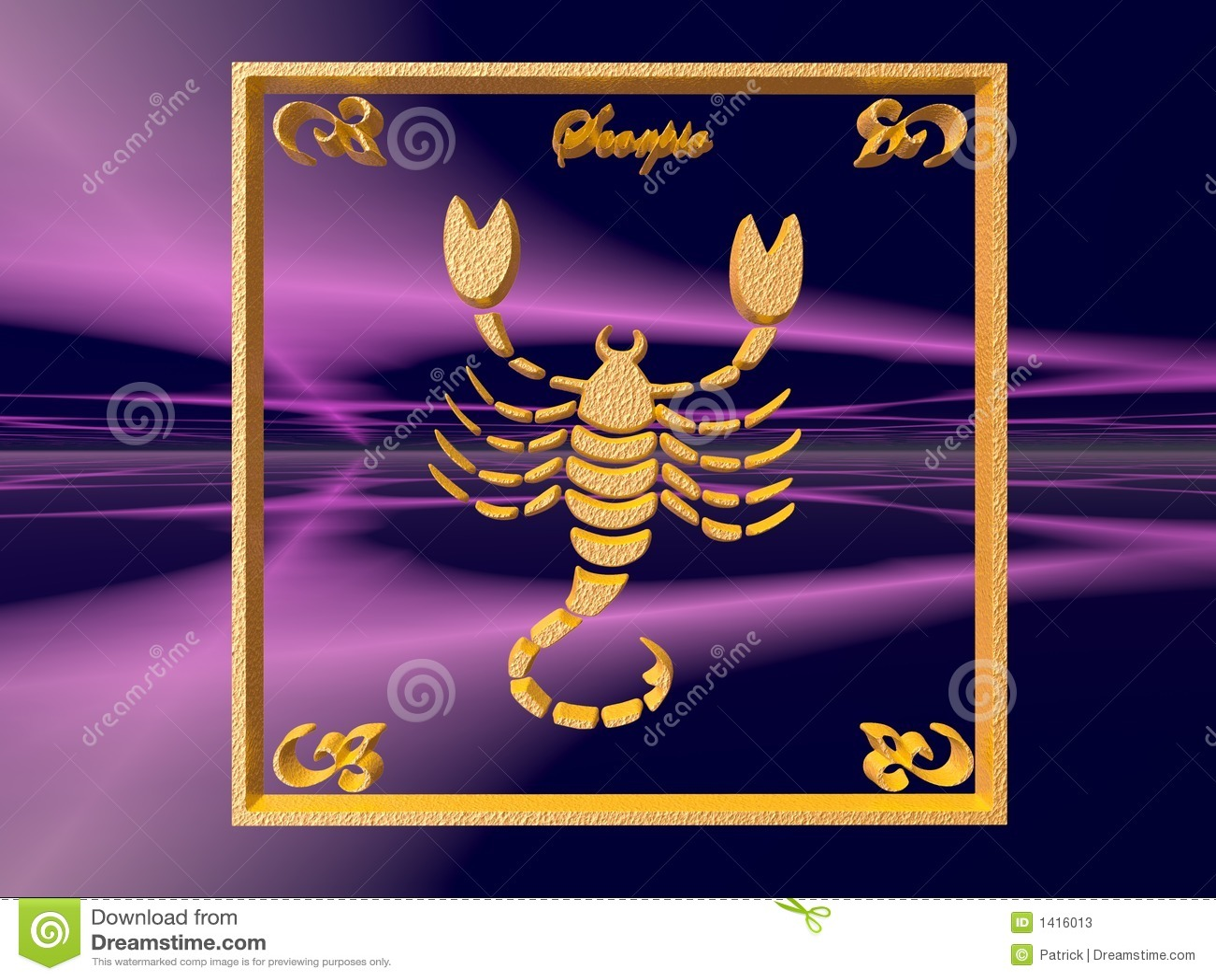 Zodiac horoscope brass logo scorpio, 3D illustration, background, wallpaper, clipping path copy space