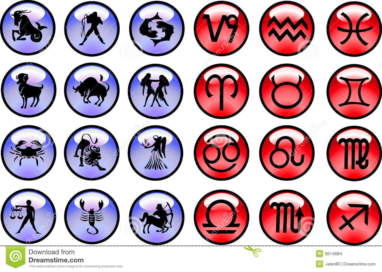 Horoscope Signs And Symbols Stock Images - Image: 9514684