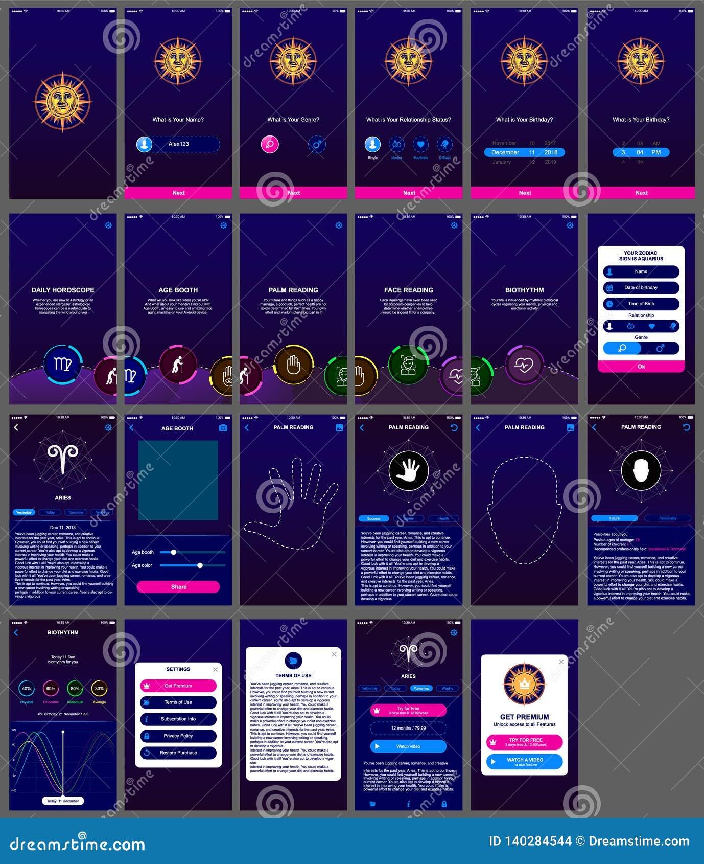 Horoscope Ui Design App Android Stock Illustration
