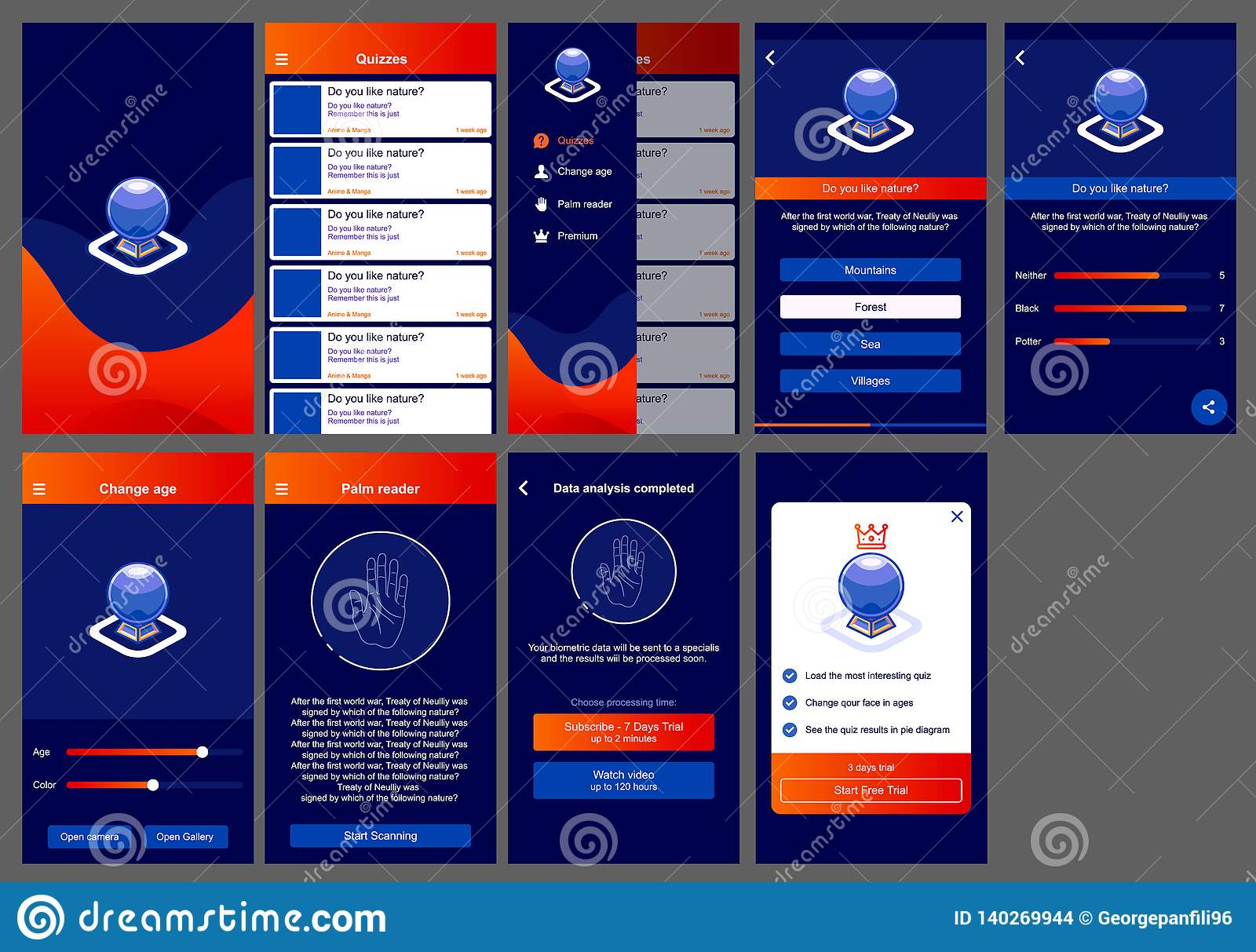 Horoscope Ui Design App Android Stock Illustration
