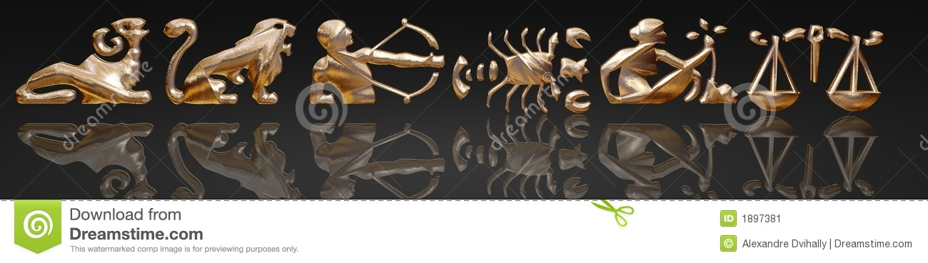 Horoscope - zodiac - gold metal