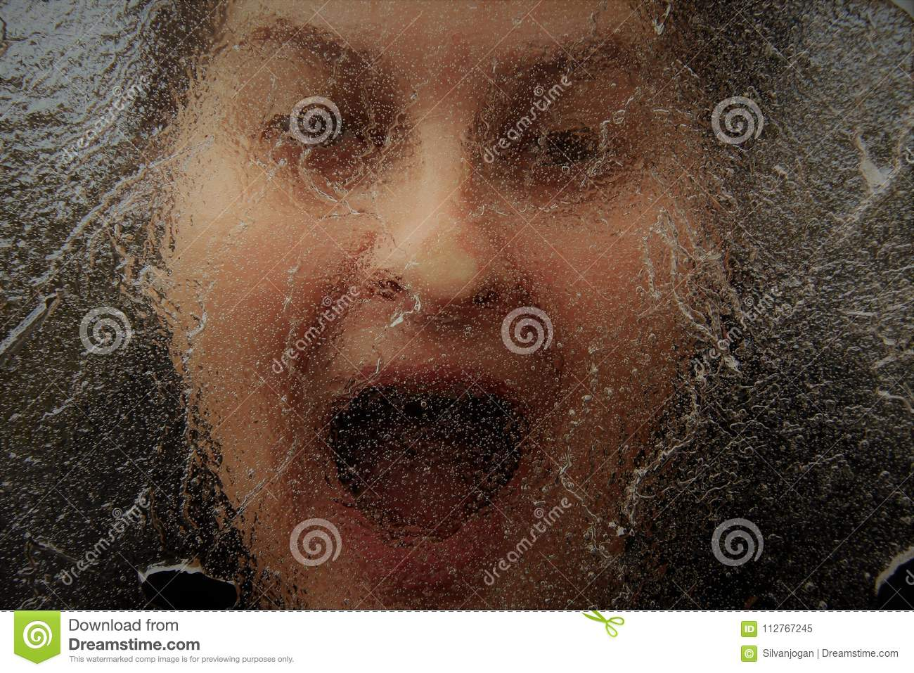 Horror Face Under Thin Layer Of Ice Stock Image Image Of Scream