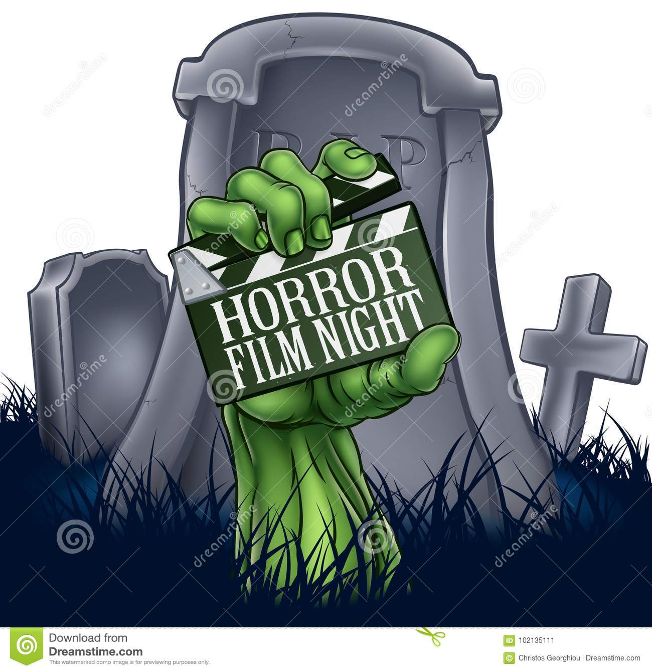 Horror Film Zombie Or Monster Clapper Board Sign Stock Vector