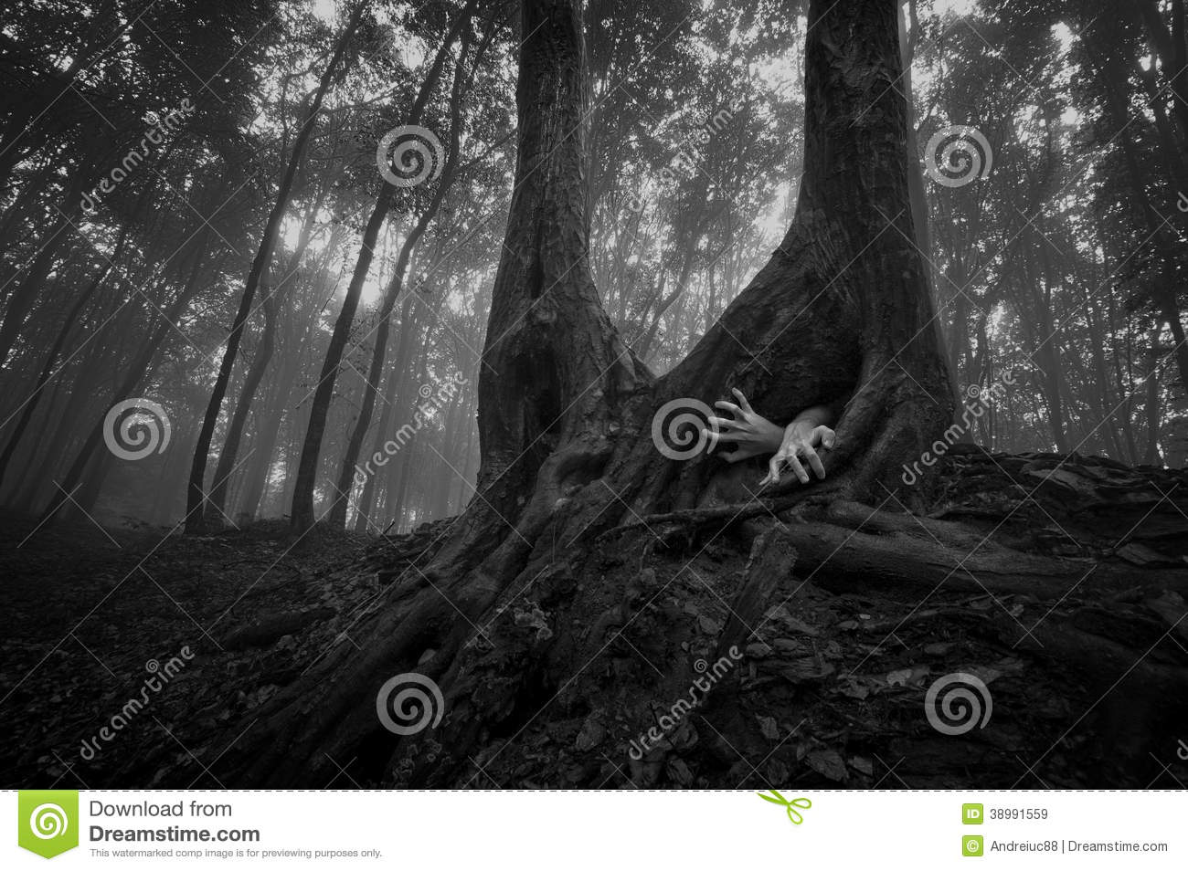 Horror forest scene with hands on halloween