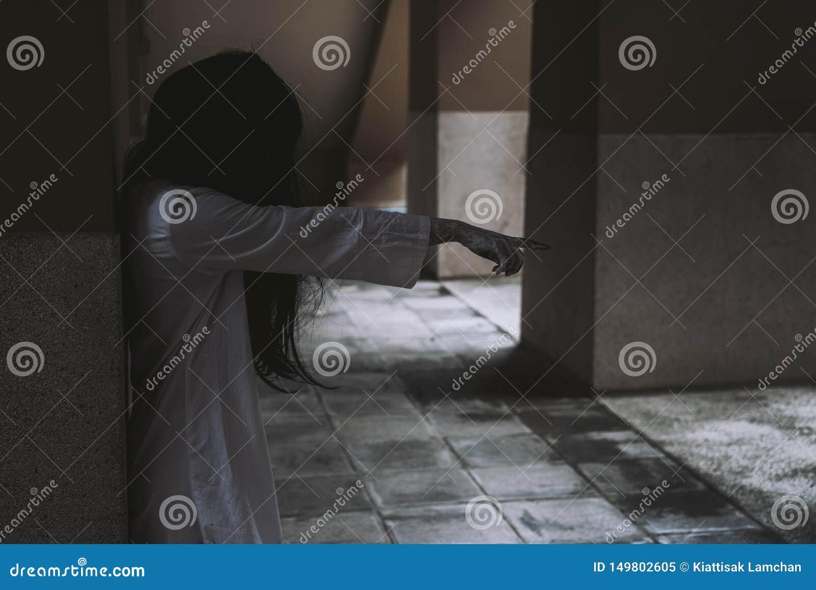 Horror scene of ghost woman death movie film halloween