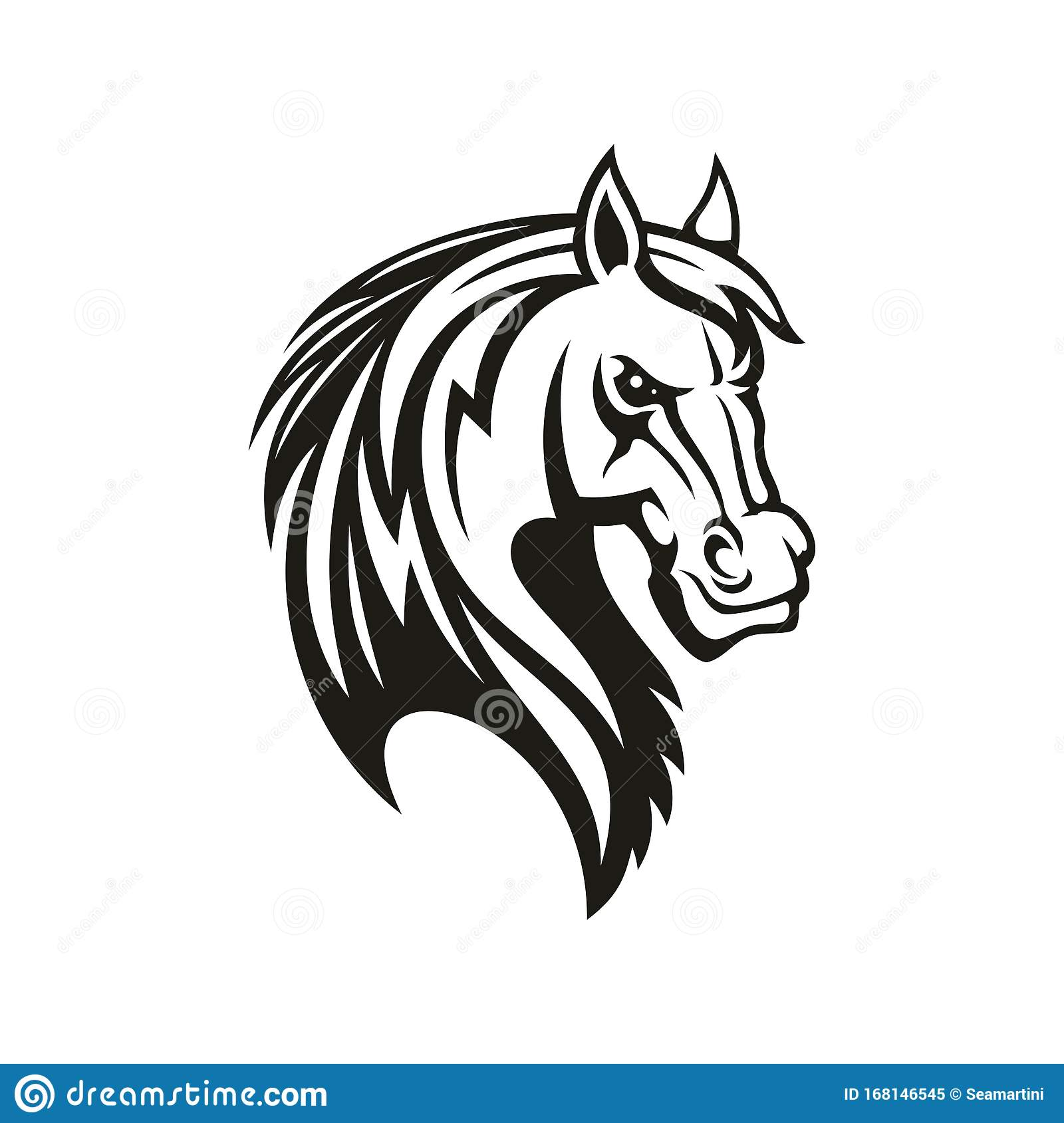 Horse Animal Tribal Tattoo Or Racing Sport Mascot Stock Vector Illustration Of Emblem Mane 168146545