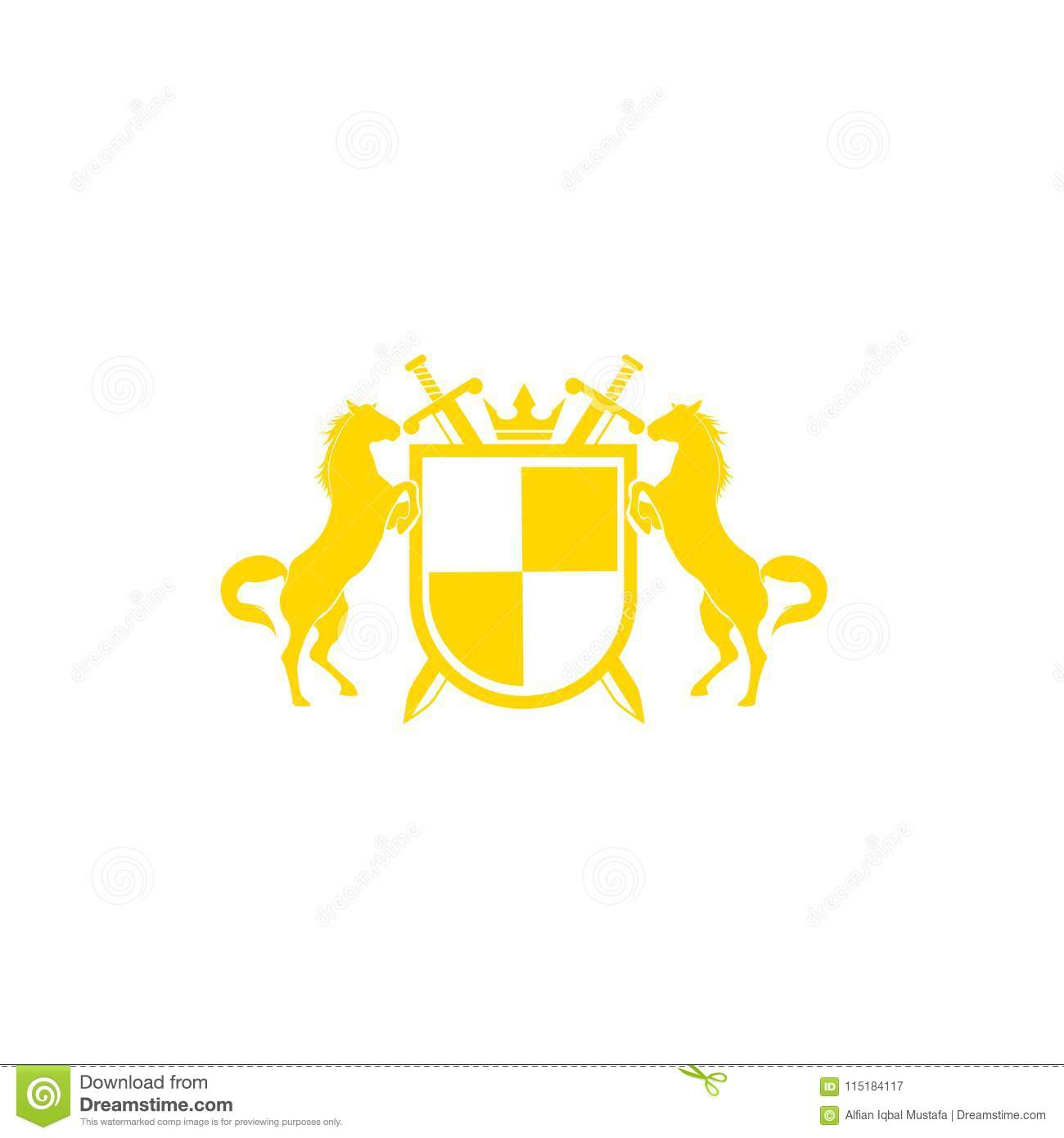 Horse Brand Logo Design Vector Retro Golden Crest With Shield And