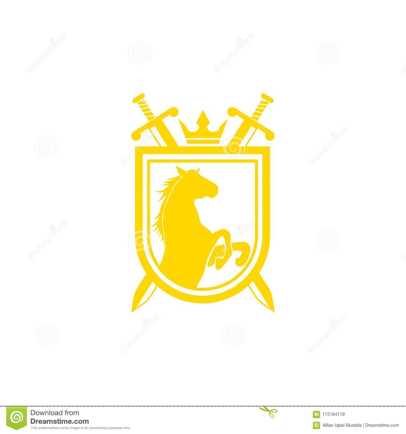 Horse Brand Logo Design Vector Retro Golden Crest With Shield And Horses Heraldic Template Luxury Concept Can Be Used As Icon
