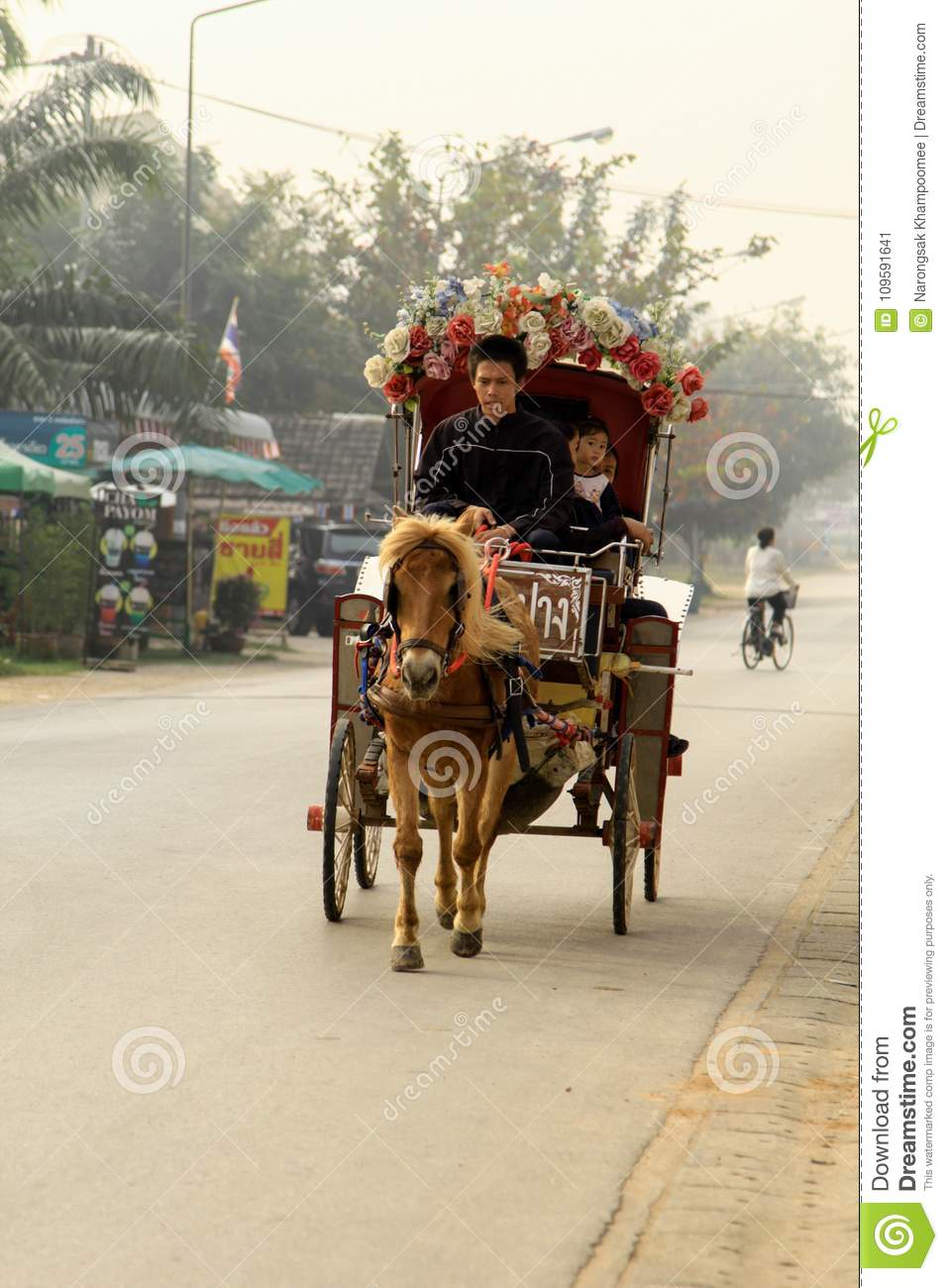 The horse carriage with people in Lampang at Wat Phra That Lampang Luang, horse-drawn carriage ride for tourists to travel near t