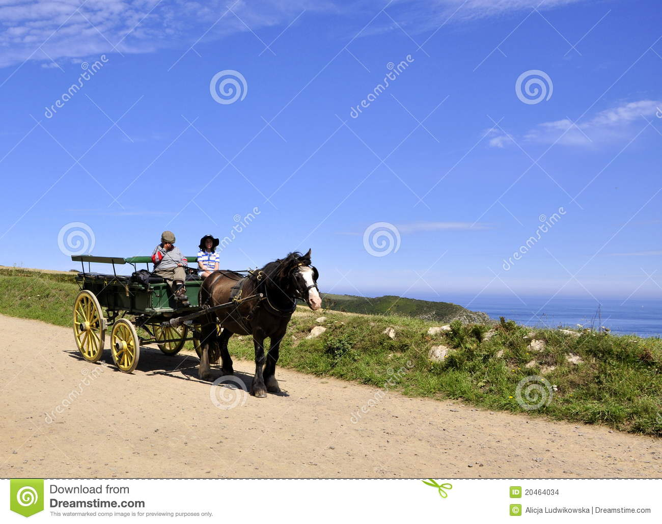 Horse carriage in Sark