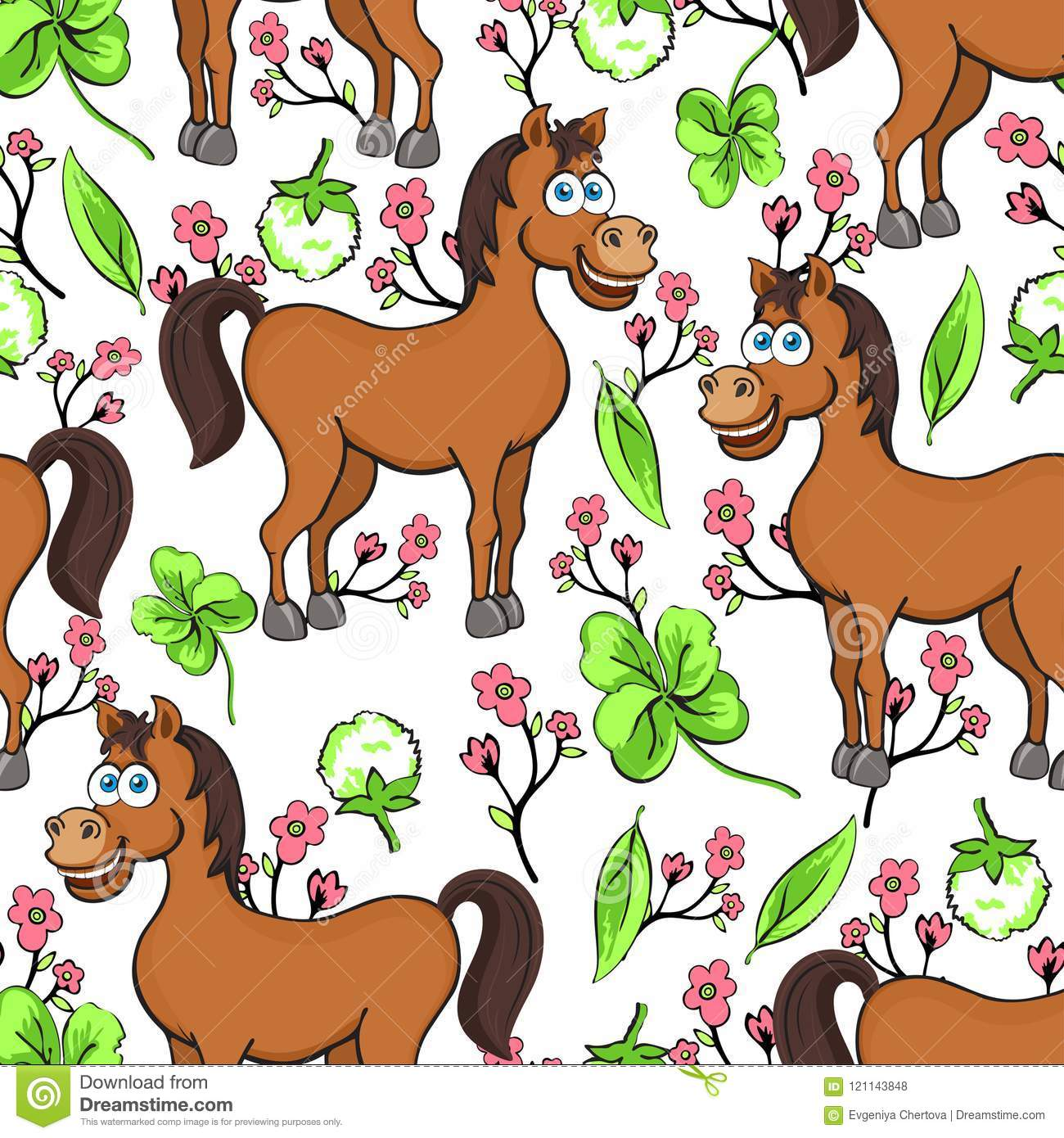 Horse Cartoon Drawing Seamless Pattern Vector Illustration Funny Cute Painted Brown Horse Pink Flowers And Clover Leaves On Whi Stock Vector Illustration Of Cartoon Cute 121143848