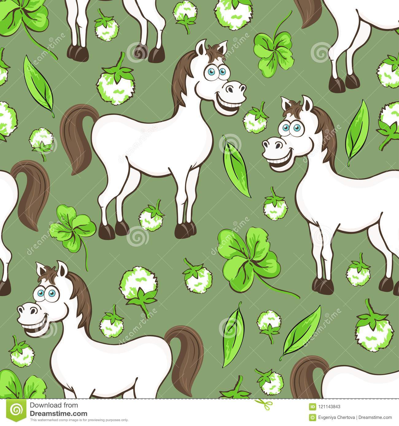 Horse Cartoon Drawing Seamless Pattern Vector Illustration Funny Cute Painted White Horse Flowers And Clover Leaves On Green Bac Stock Vector Illustration Of Meadow Cheerful 121143843
