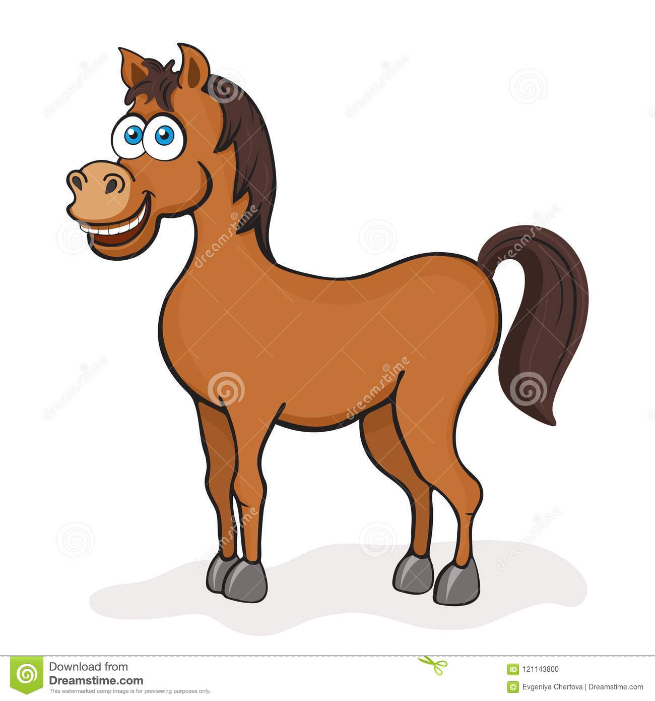 Horse Cartoon Drawing Vector Illustration Funny Cute Painted Brown Horse With Blue Eyes Isolated On White Background Animated C Stock Vector Illustration Of Happy Character 121143800