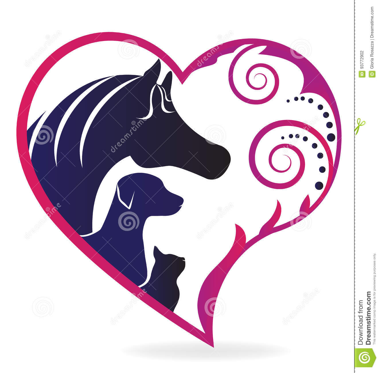Horse Cat And Dog Love Logo Stock Vector Illustration Of Flower Animals 93772902