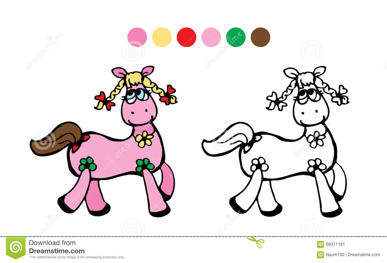 Horse.Color, Black And White. Vector Stock Vector - Image ...