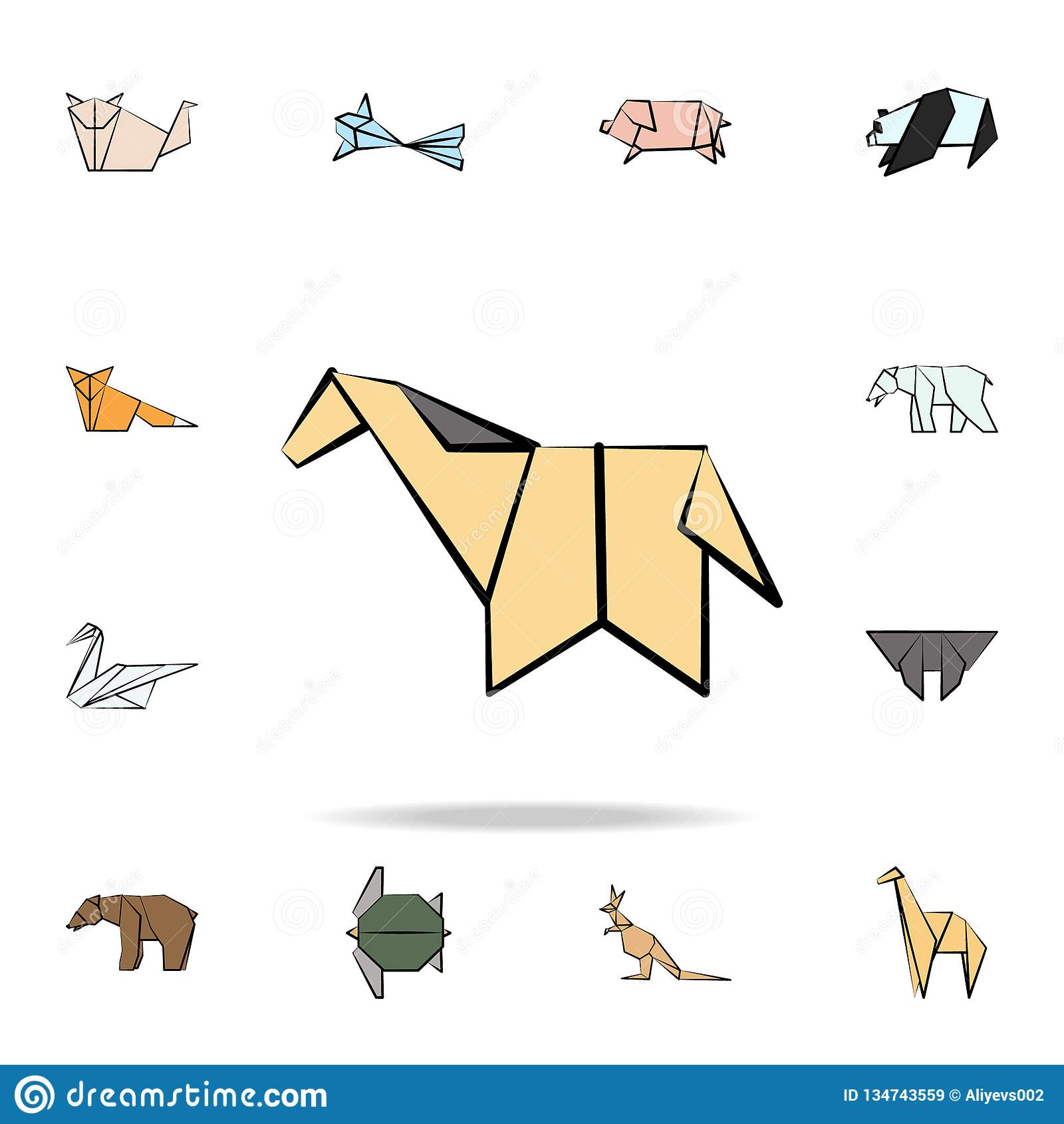 horse colored origami icon. Detailed set of origami animal in hand drawn style icons. Premium graphic design. One of the