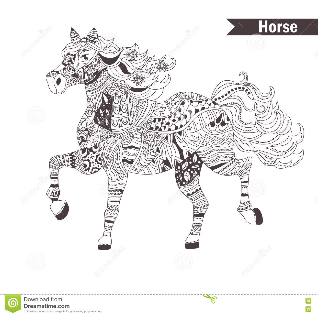 Horse. Coloring Book For Adult Stock Vector - Illustration of animal ...