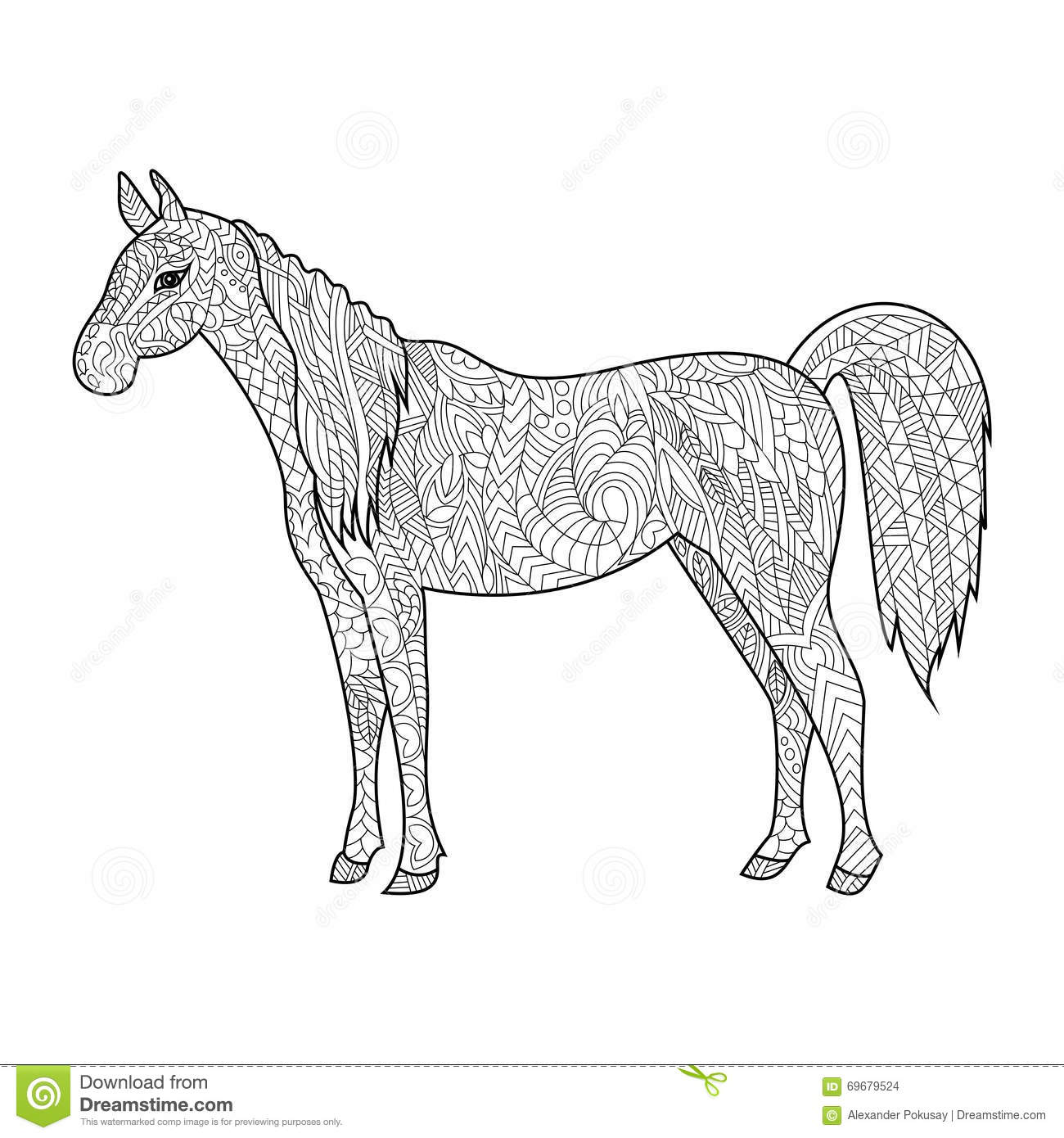 Horse Coloring Book For Adults Vector Stock Vector