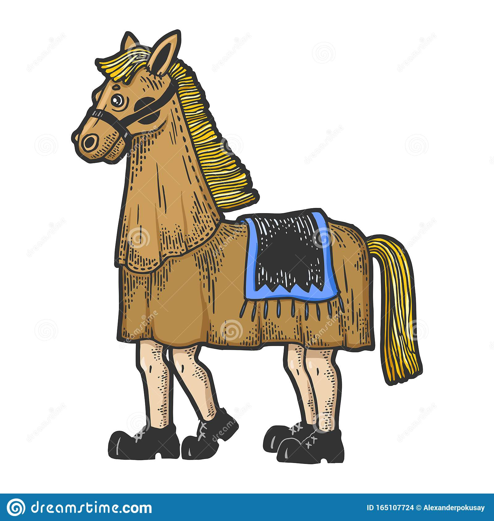 Horse Costume In Theater Sketch Engraving Vector Stock Vector Illustration Of Production Human 165107724