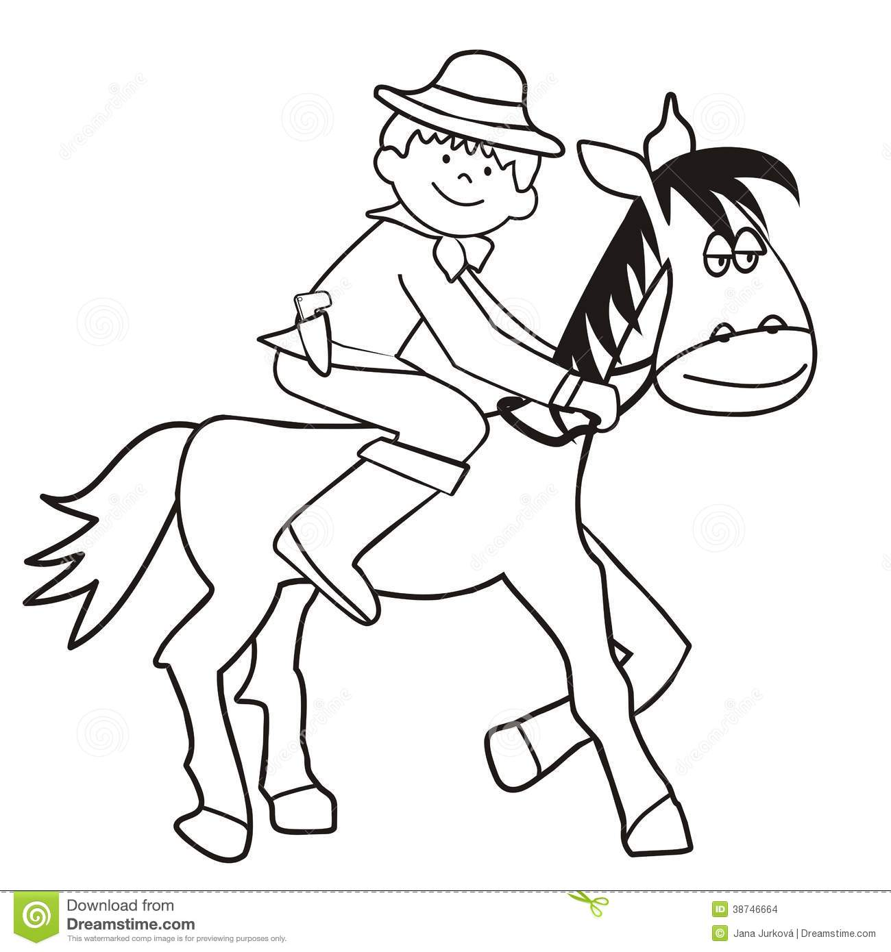 Horse And Cowboy - Coloring Stock Vector - Illustration of draw ...