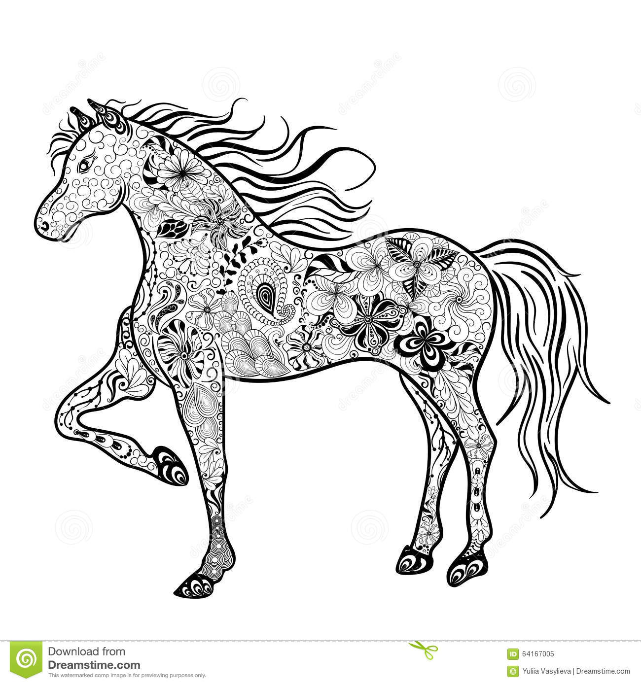 Horse Doodle Stock Vector Illustration Of Vector Contour 64167005