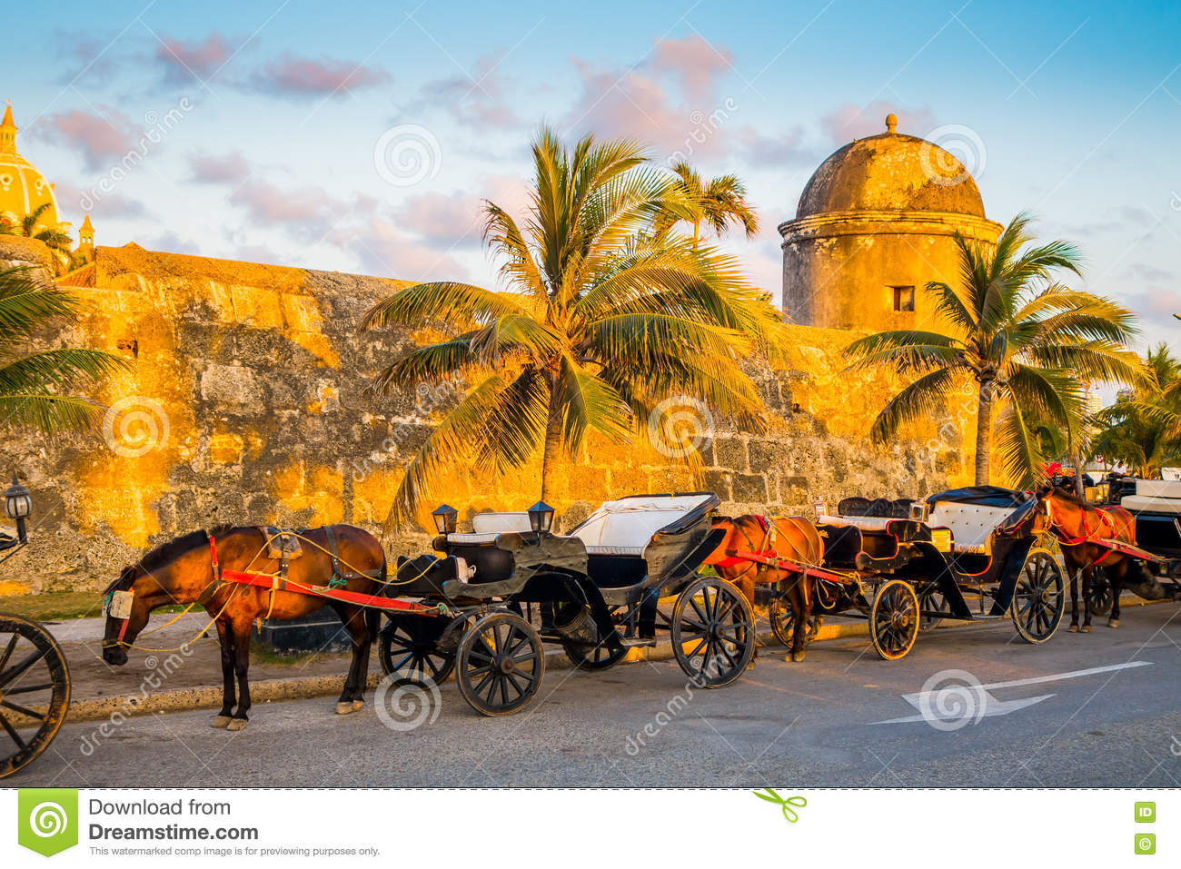 Horse drawn touristic carriages in the historic Spanish colonial city of Cartagena de Indias, Colombia
