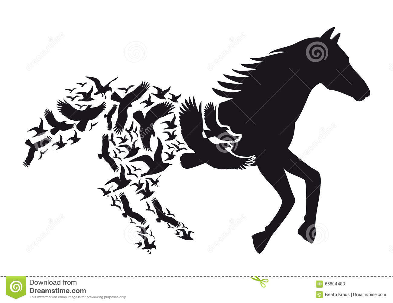 Stock Illustration Horse Flying Birds Vector Black Silhouette Illustra...