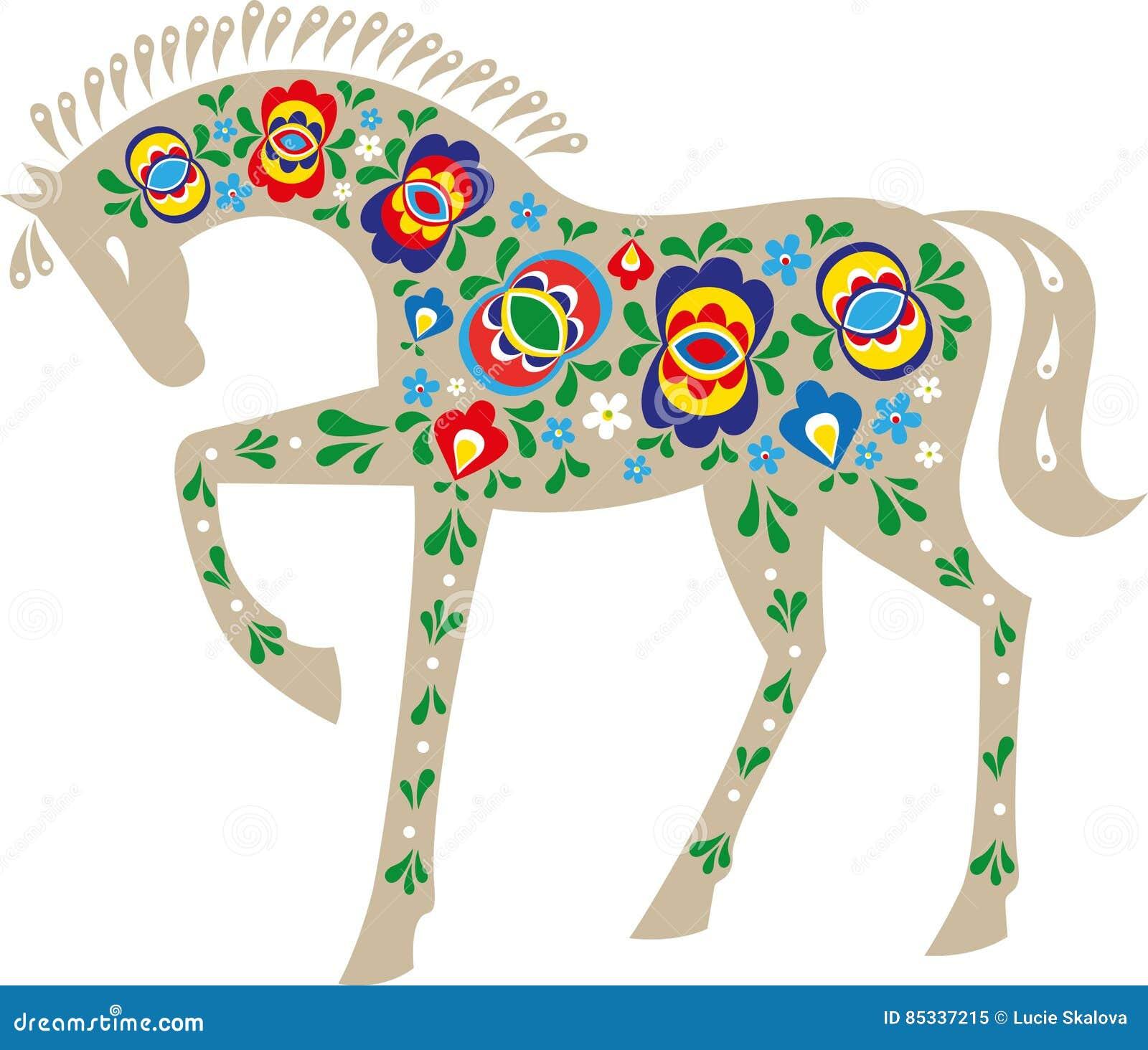 Horse with folk design