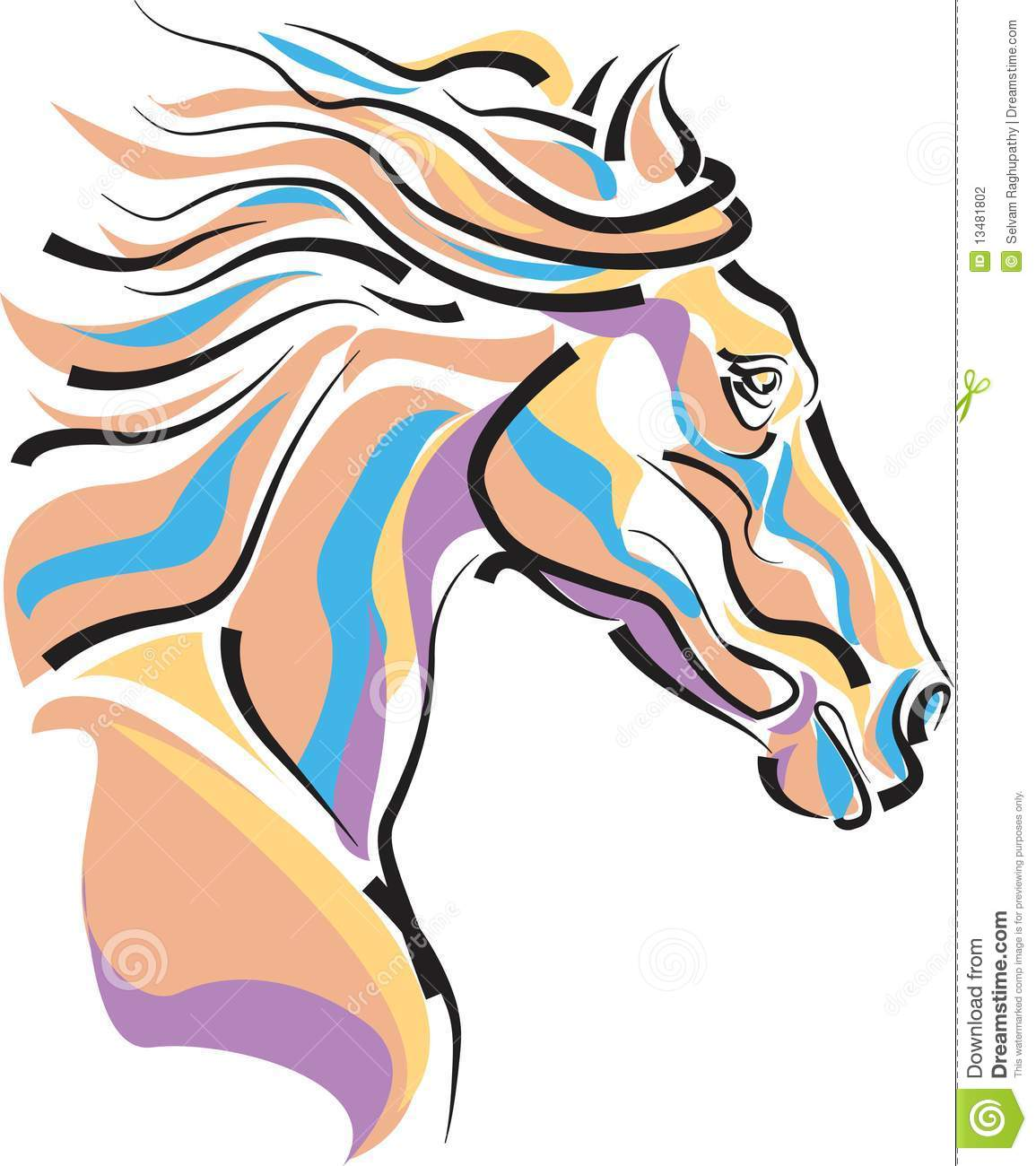 horse-head-13481802 Easy Colorful Drawings