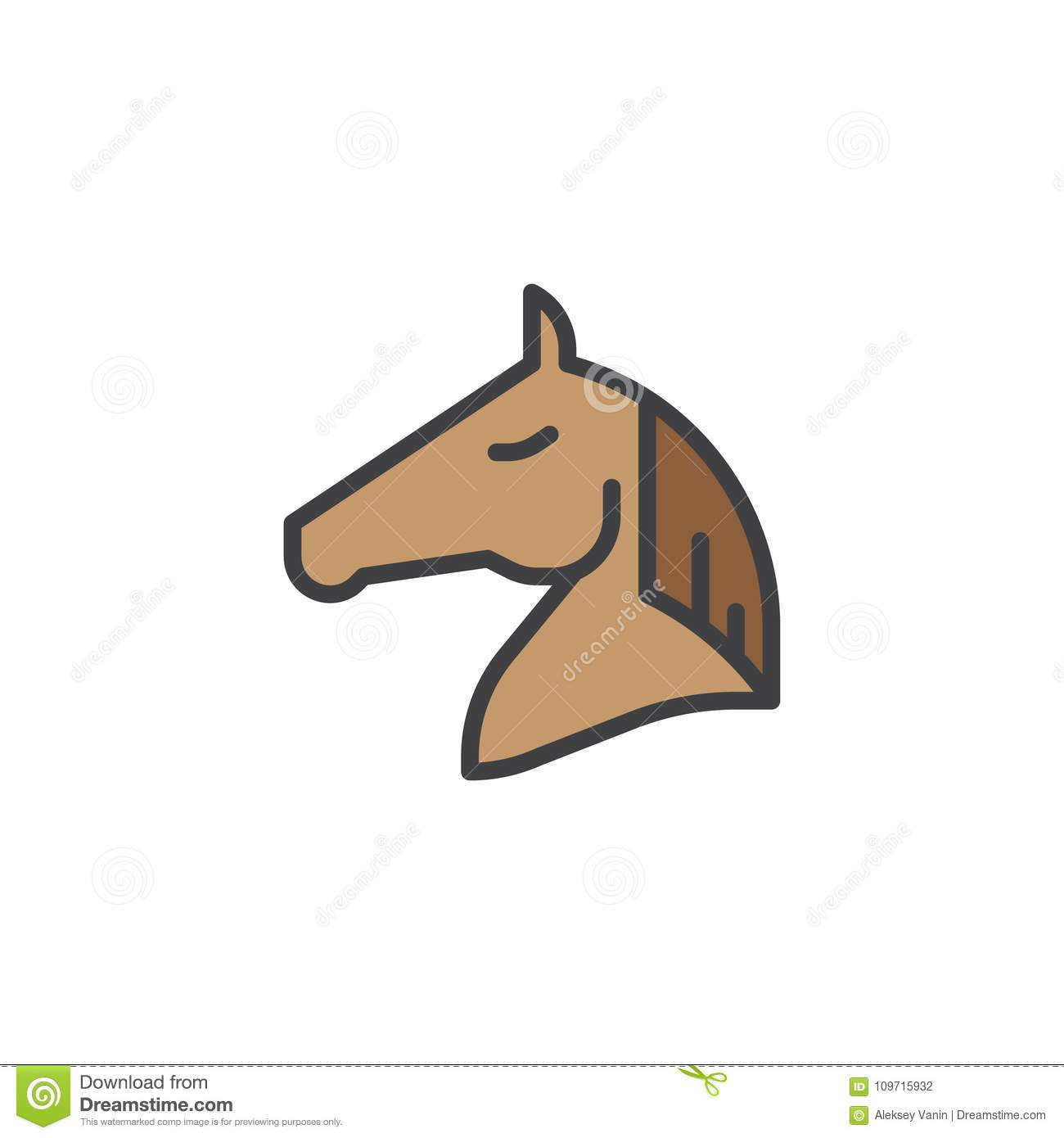 Horse Head Filled Outline Icon Stock Vector Illustration