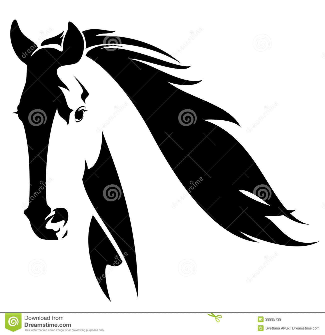 Horse head with flying mane black and white vector design.