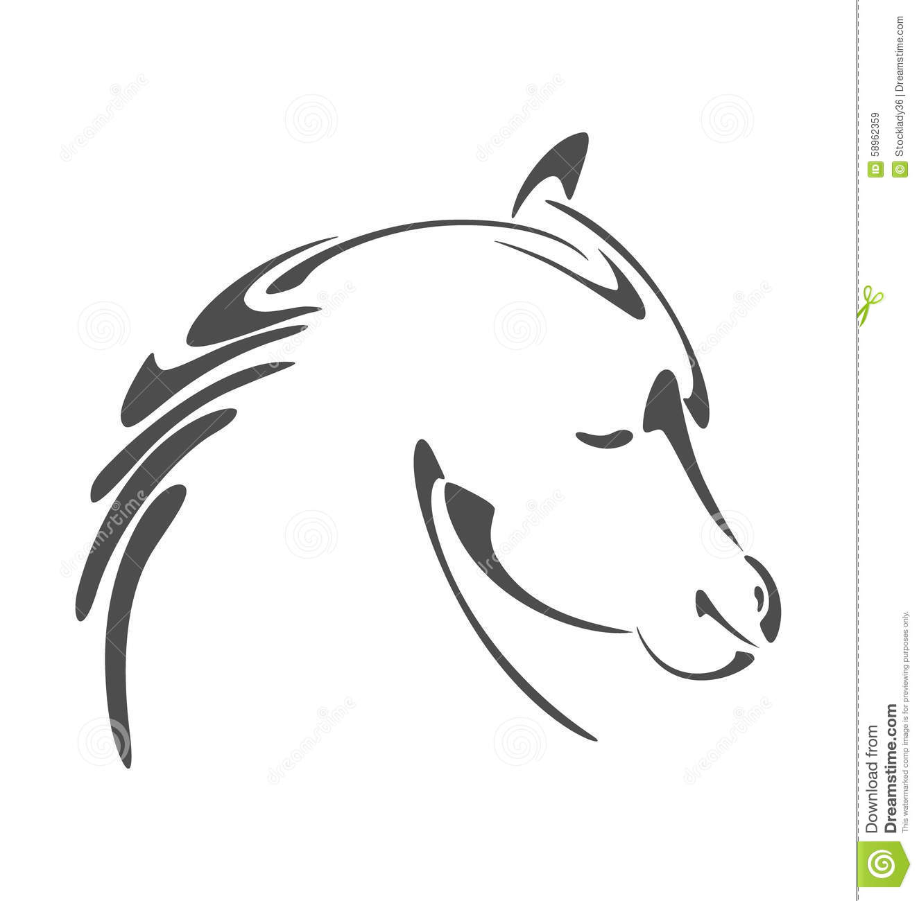 Horse Head Illustration In Calligraphy Style Stock Vector