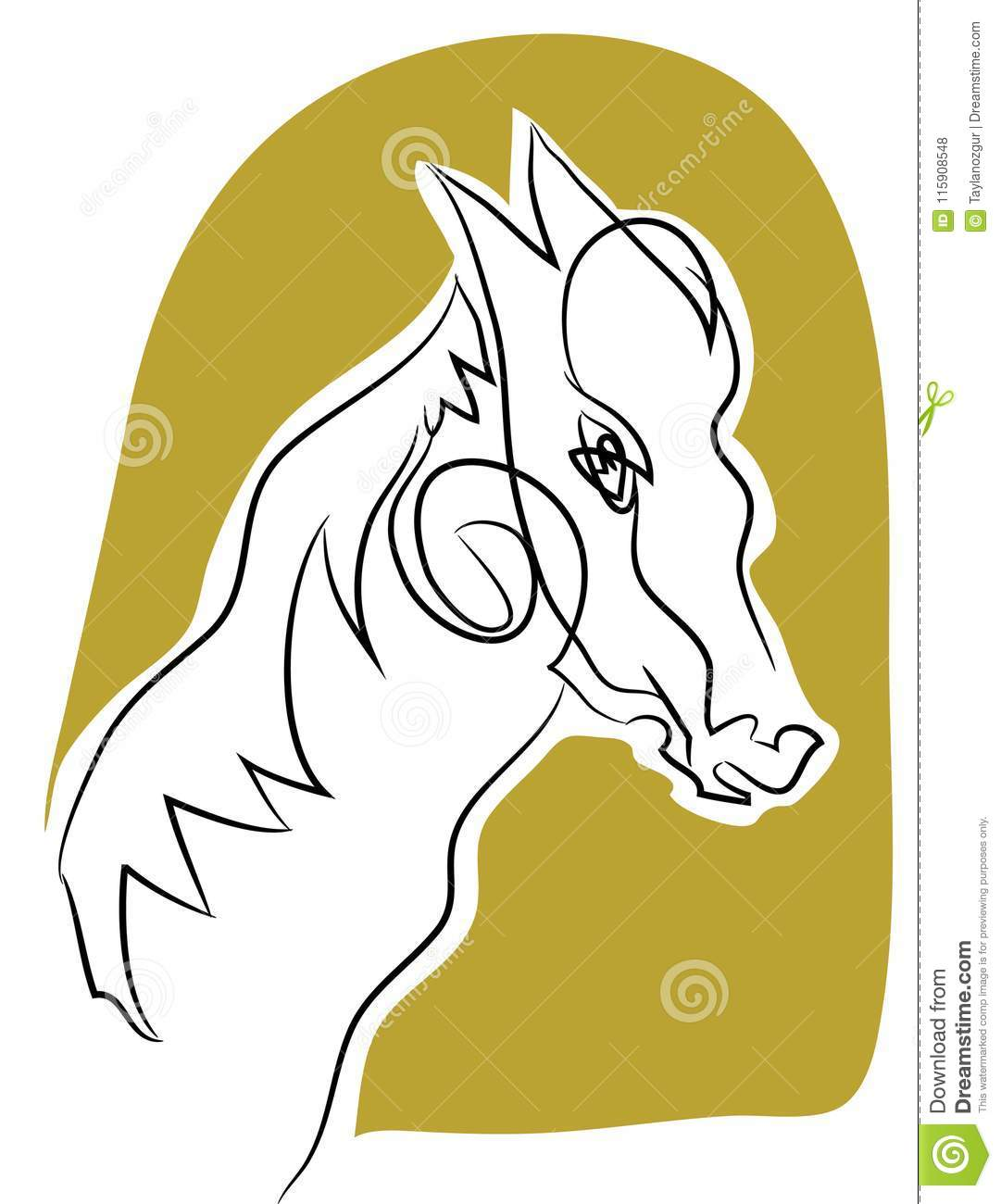 Horse Head Line Drawing Stock Vector Illustration Of Horseback 115908548