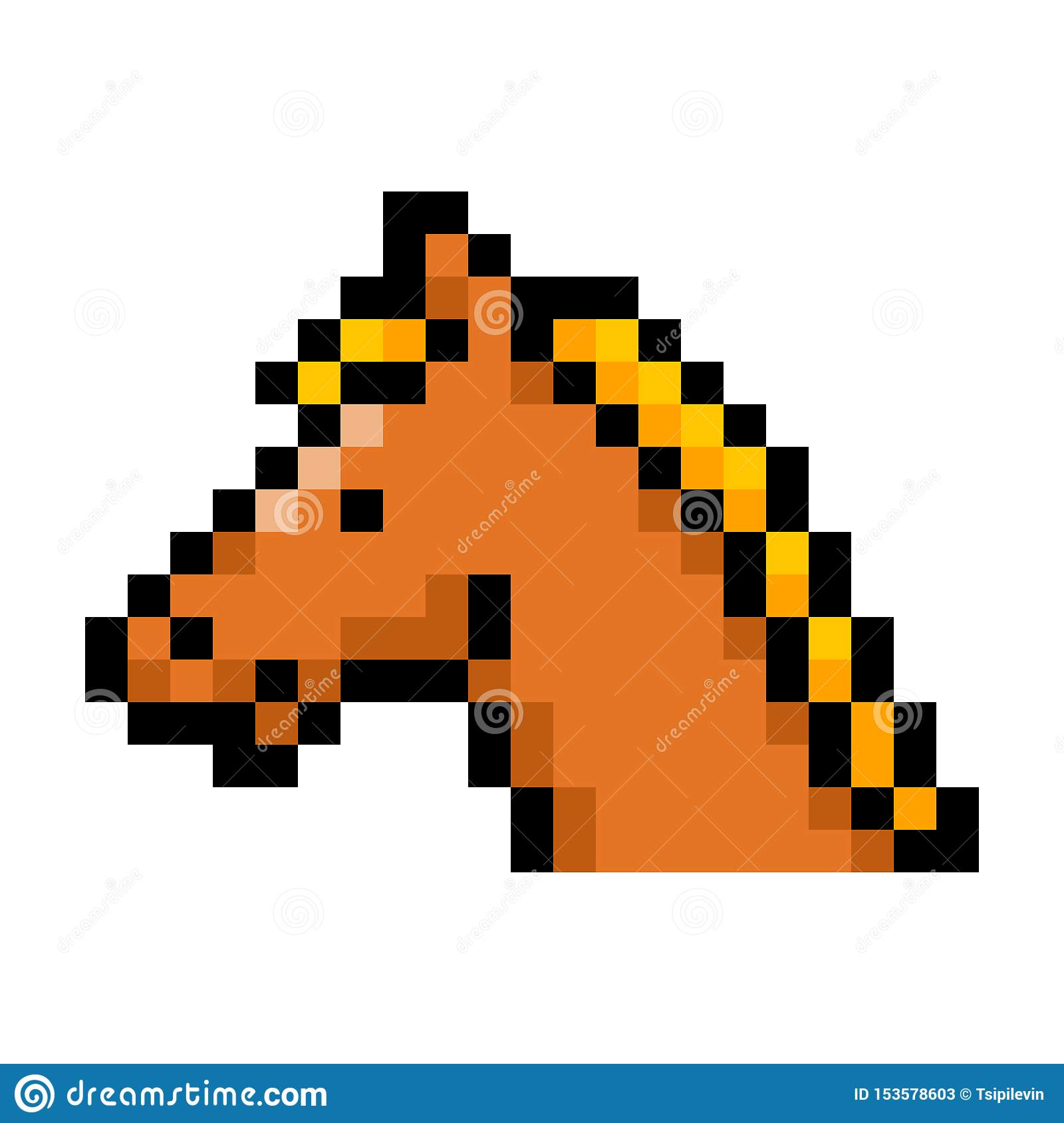 Horse Head Pixel Art On White Background Stock Illustration