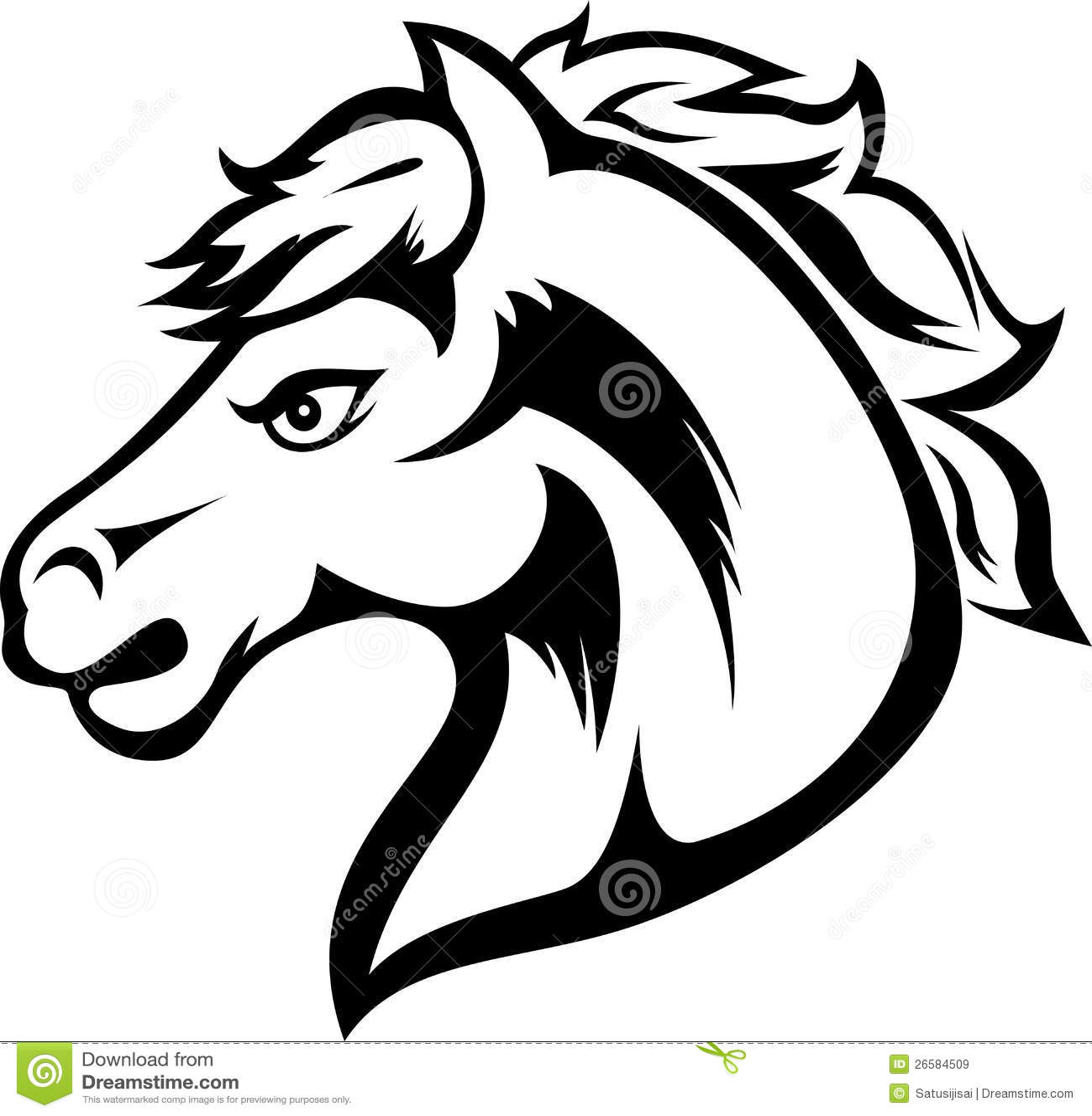 5a0fcaeca Horse head tattoo stock vector. Illustration of language - 26584509