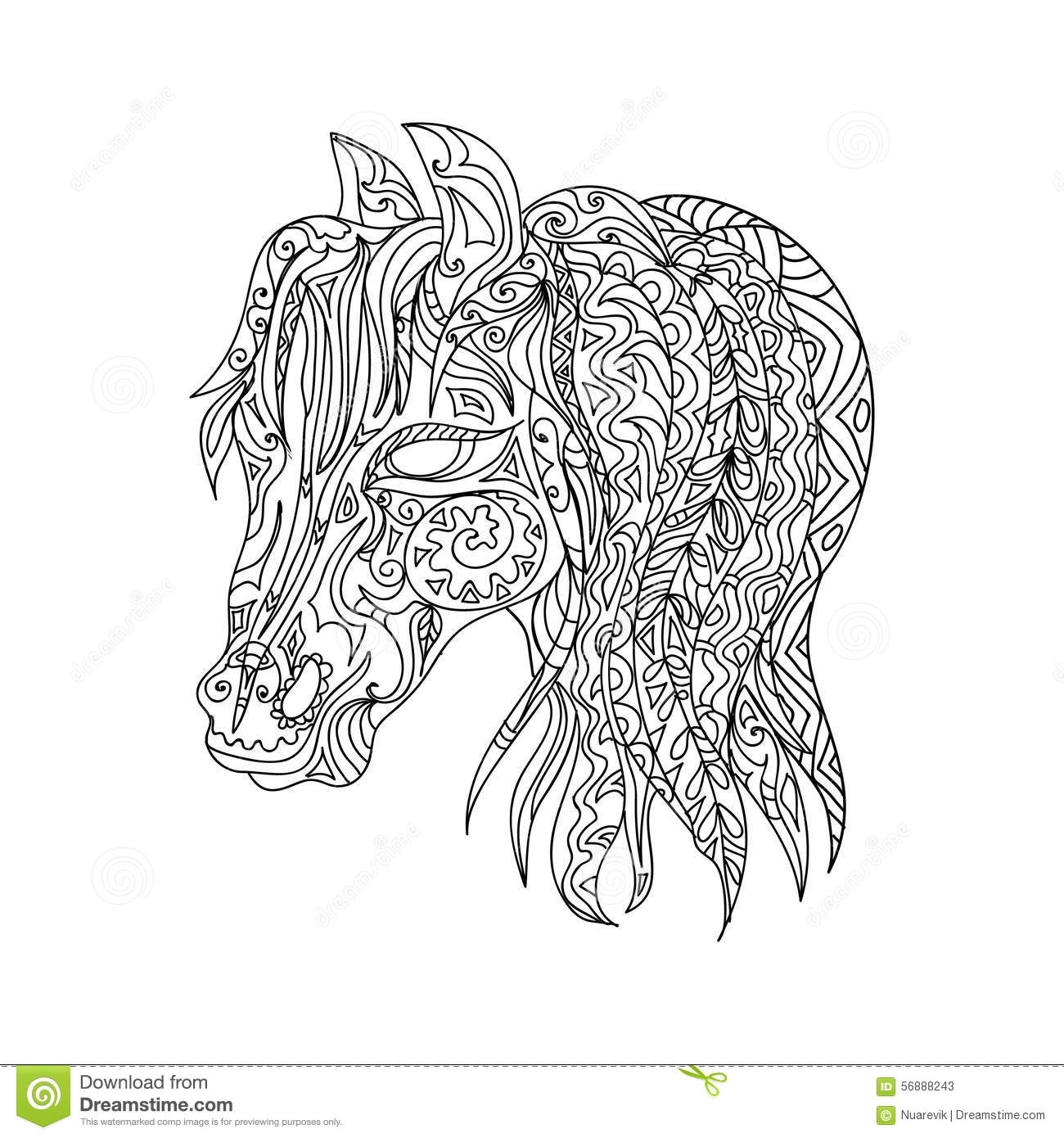 Abstract Horse Coloring Pages : Horse head zentangle stock illustration image of mandala
