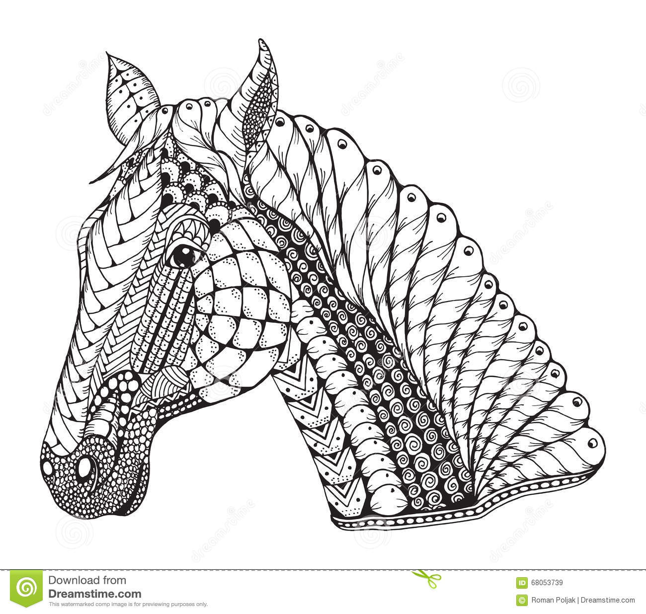 Line Drawing Zentangle : Horse head zentangle stylized vector illustration