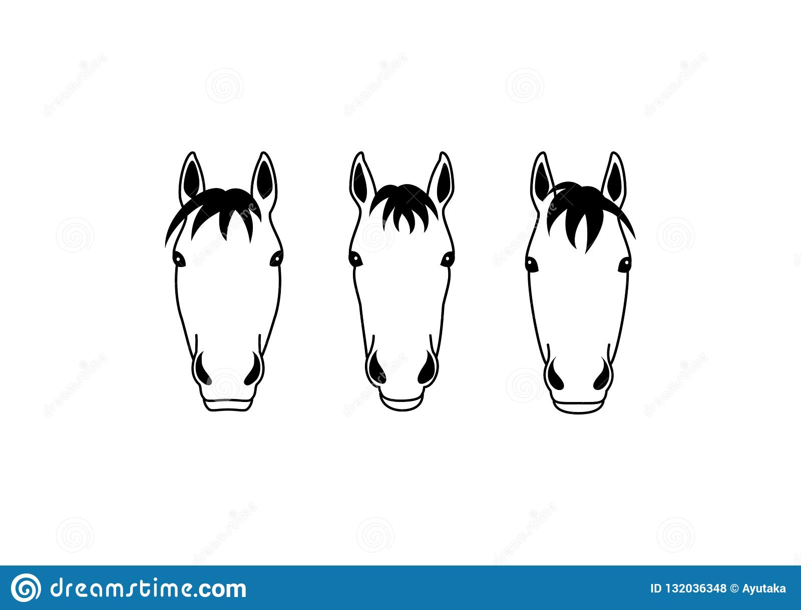 Horse Heads Group Design Stock Vector Illustration Of Head 132036348