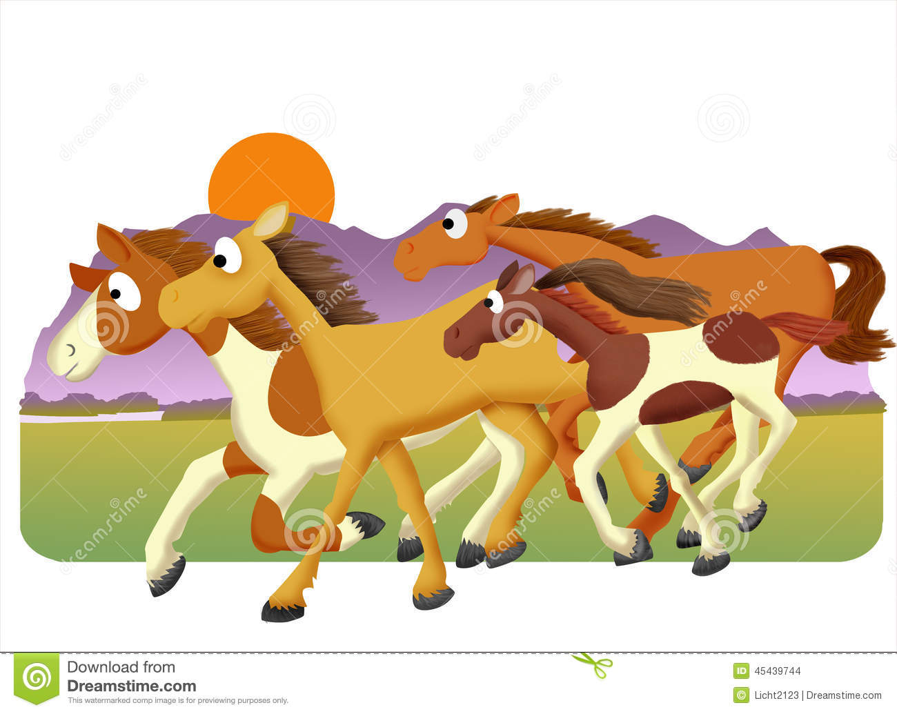 Horse herd stock illustration illustration of mare foal for Clipart mare