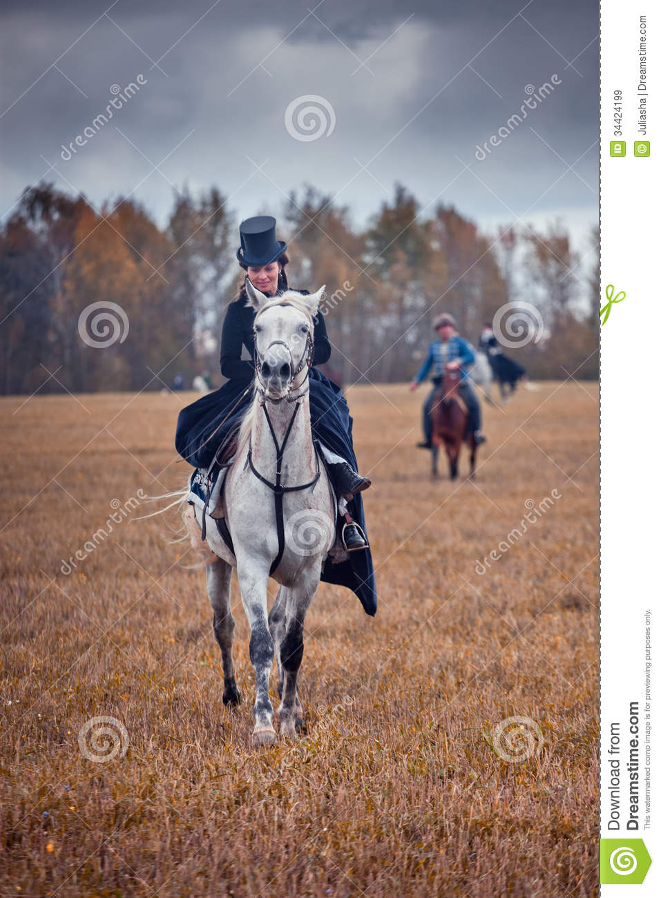 Horse Hunting With Ladies In Riding Habit Editorial Stock